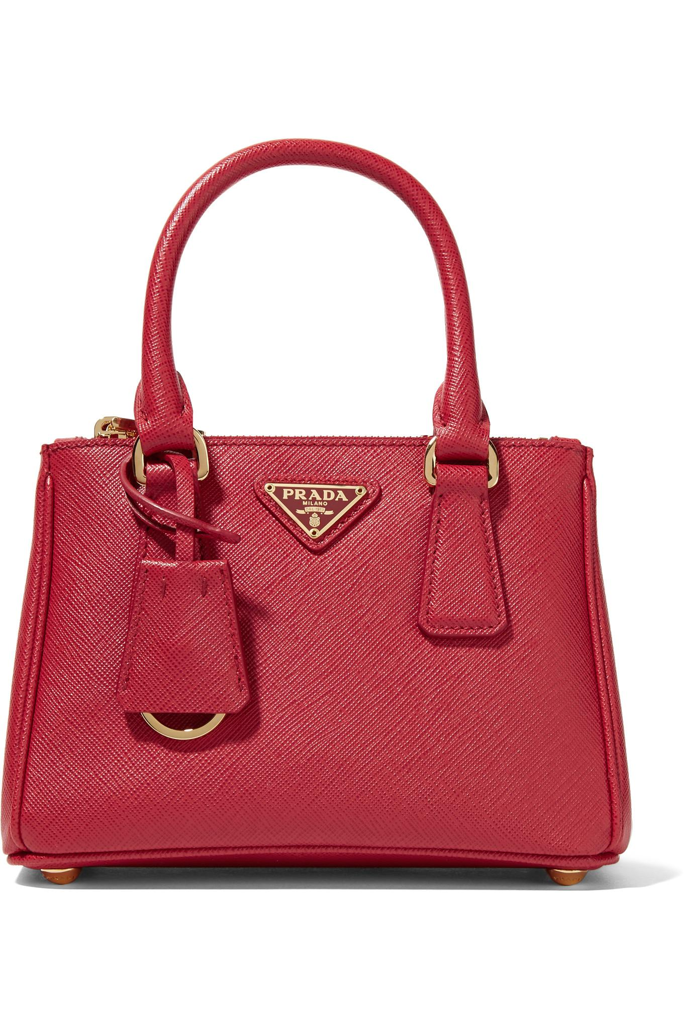 Lyst - Prada Galleria Baby Textured-Leather Tote in Red f1eaa4768c6cf