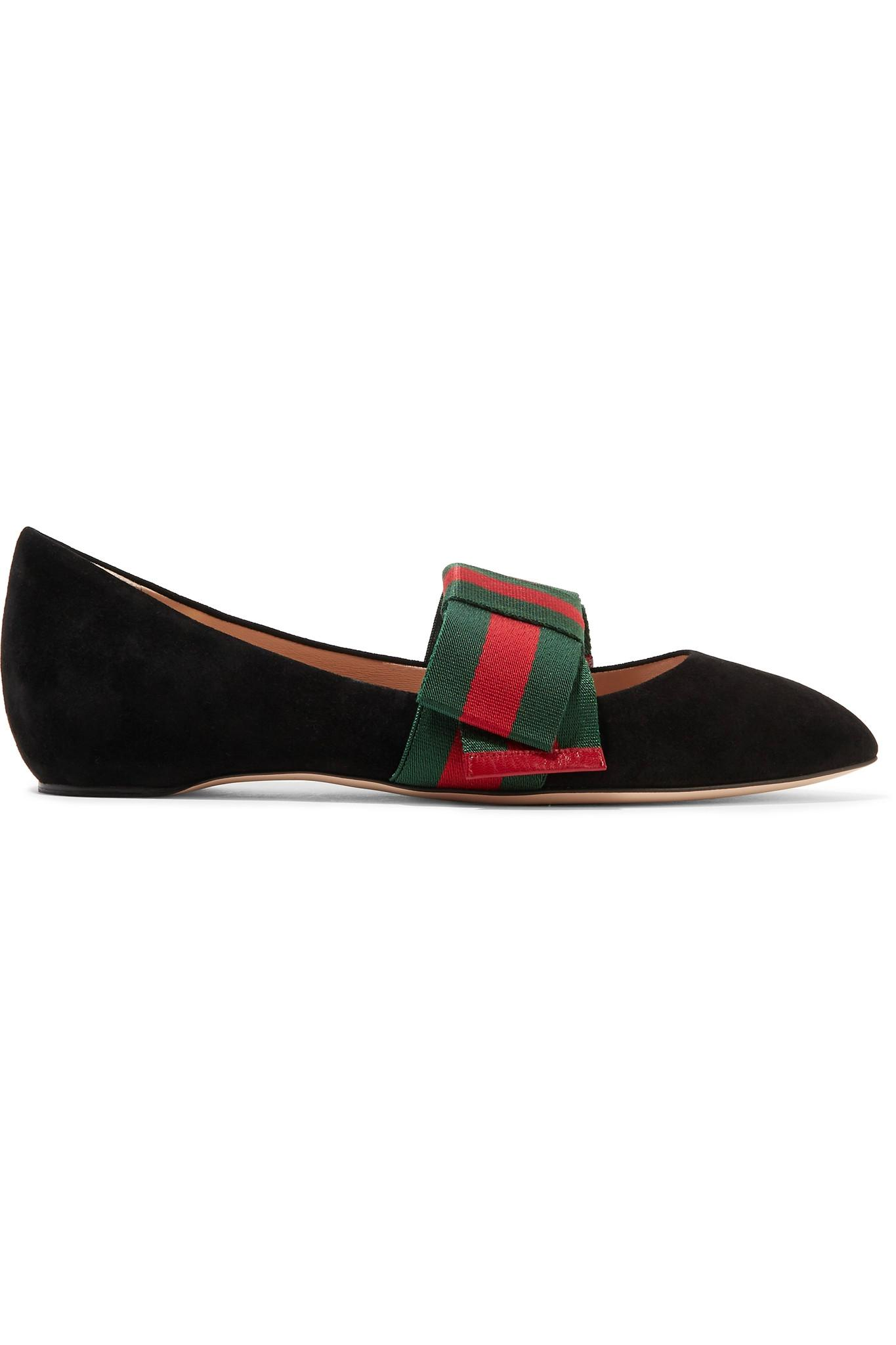 Gucci Bow-embellished Suede Point-toe Flats in Black - Lyst 76751bd778