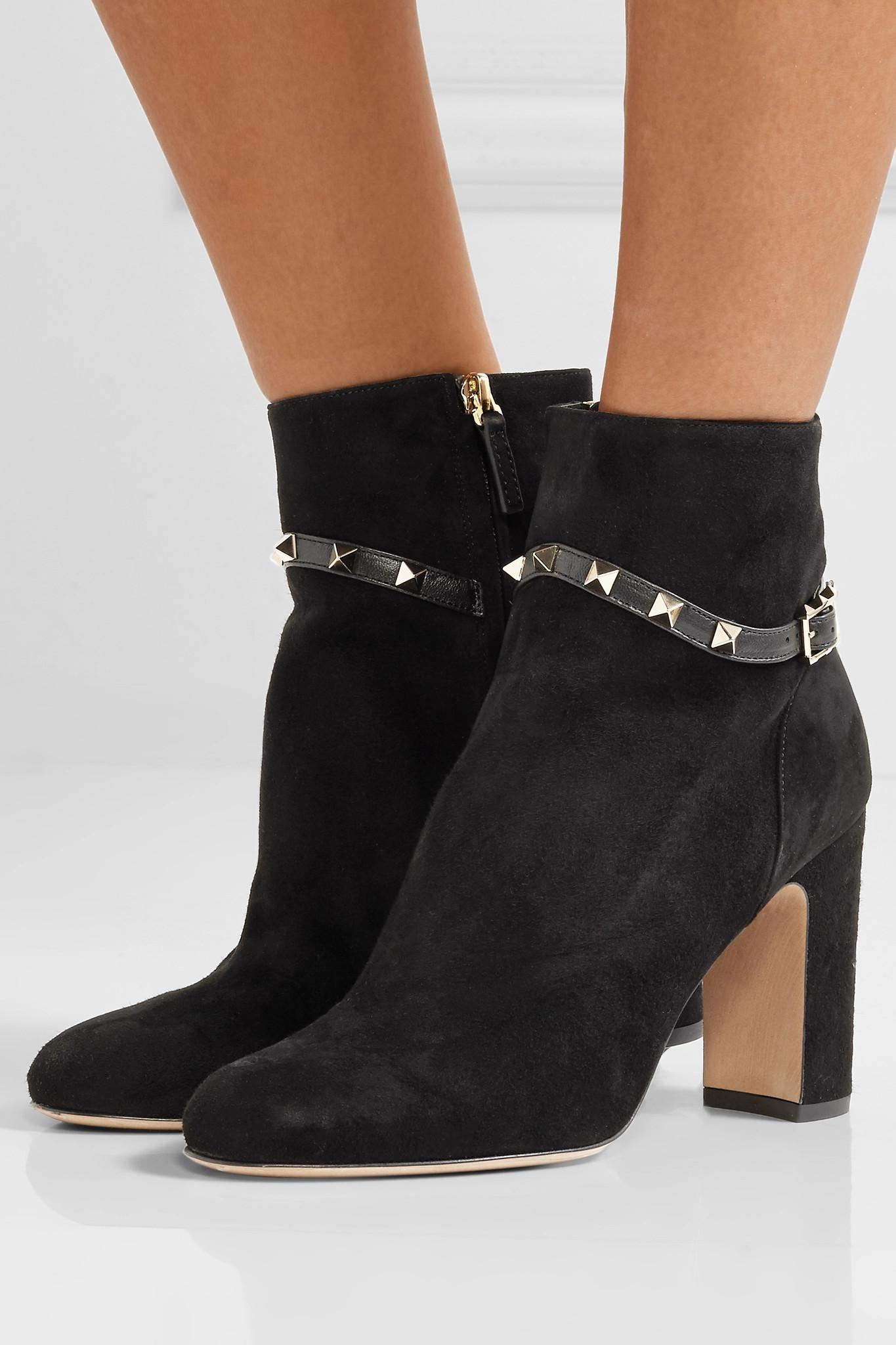 fd2e52b53d59 Valentino - Black Garavani The Rockstud Leather-trimmed Suede Ankle Boots -  Lyst. View fullscreen