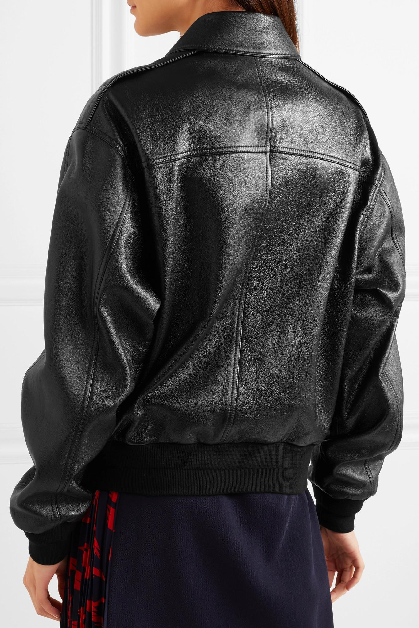 Givenchy Oversized Textured-leather Bomber Jacket in Black ...