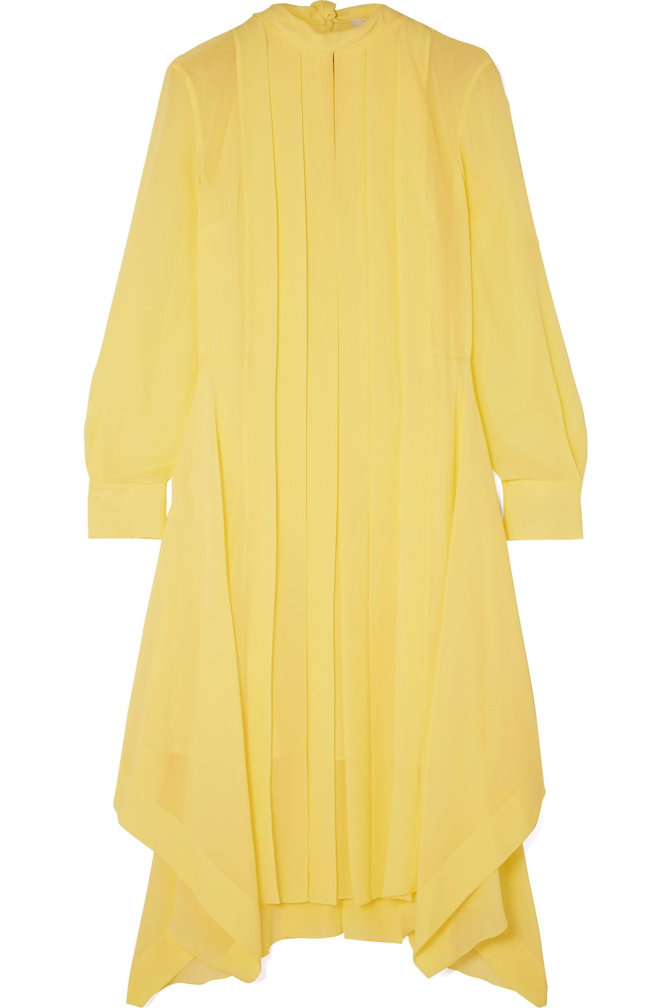 736622b58c Lyst - Chloé Pleated Silk-chiffon Dress in Yellow