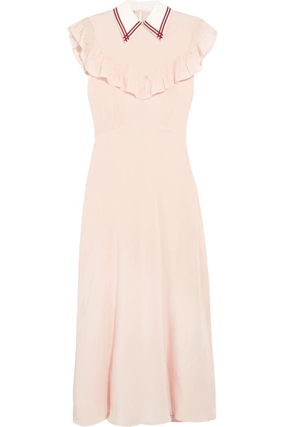 d6de58410cf56 Miu Miu Ruffled Silk Crepe De Chine Midi Dress in Pink - Lyst