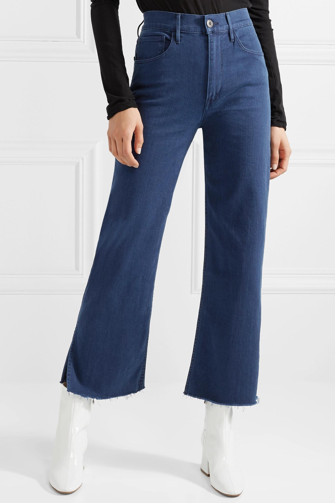 cc89dcdcc9b270 3x1 W4 Shelter Cropped Frayed High-rise Straight-leg Jeans in Blue ...