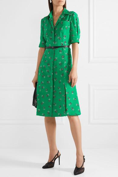 Altuzarra Wednesday Belted Printed Silk Crepe De Chine Shirt Dress in Green
