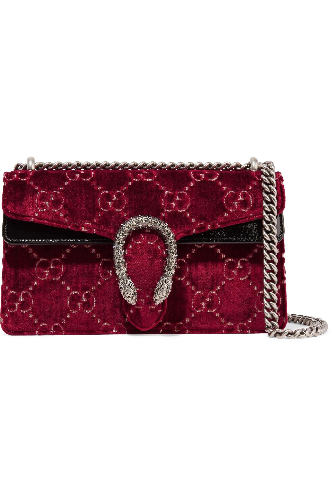 b90be0a1d5ce Gucci Dionysus Patent Leather-trimmed Embossed Velvet Shoulder Bag ...