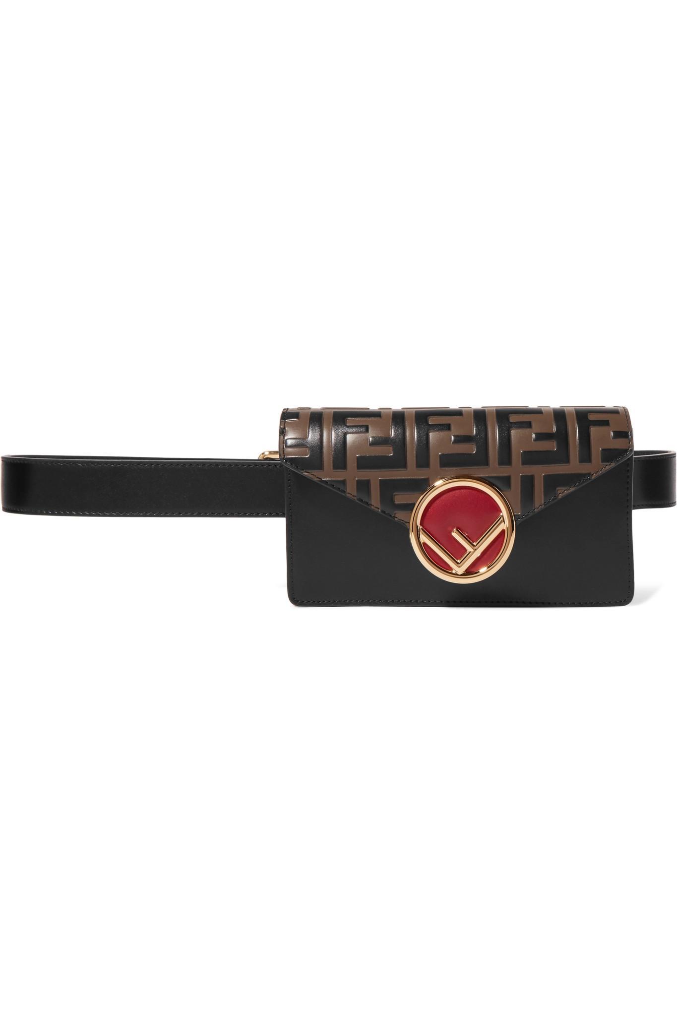 8e4f2406b7c0 Fendi Embellished Embossed Leather Belt Bag in Brown - Lyst