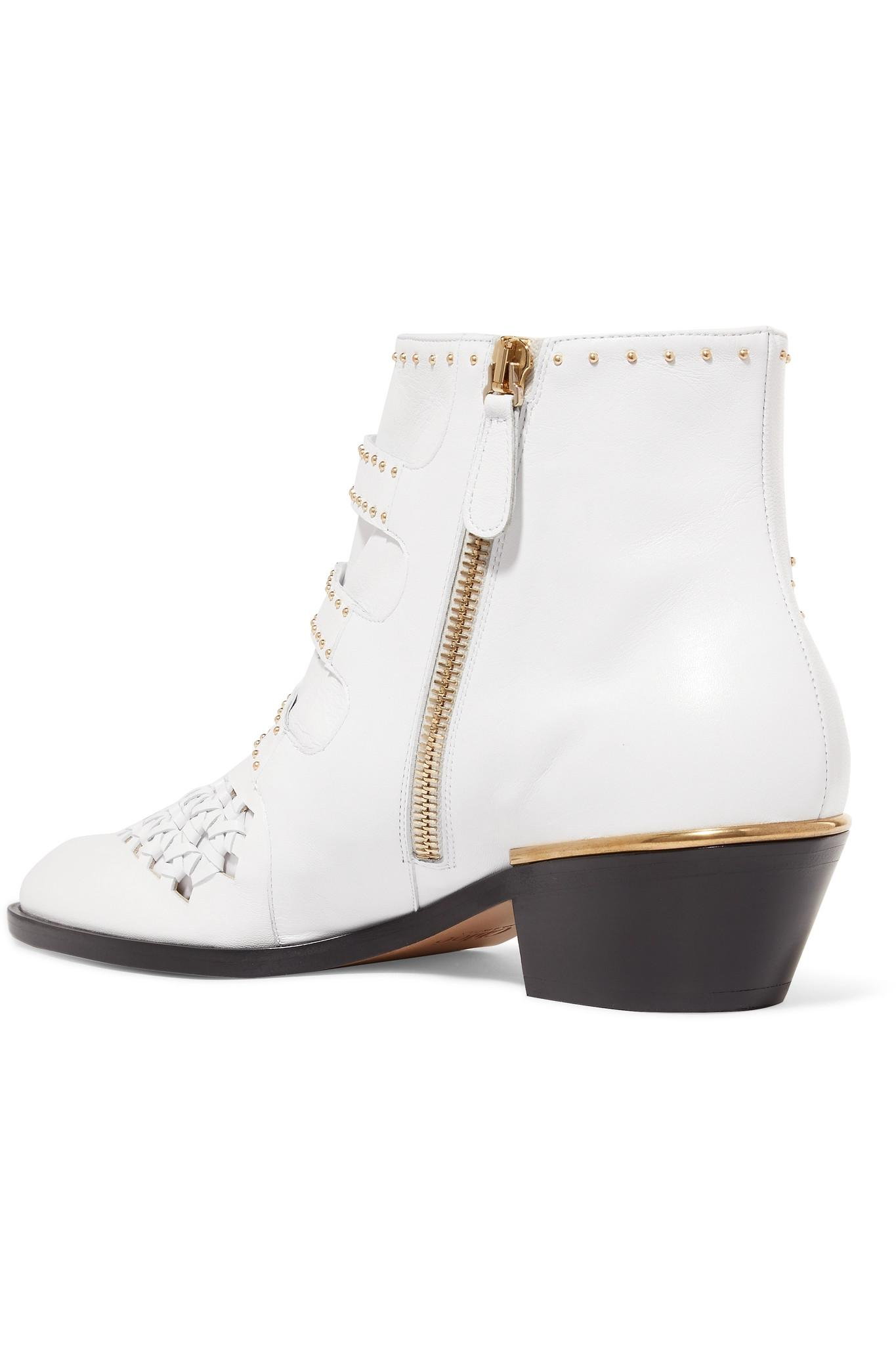 Chloé Susanna Cutout Studded Leather Ankle Boots in White