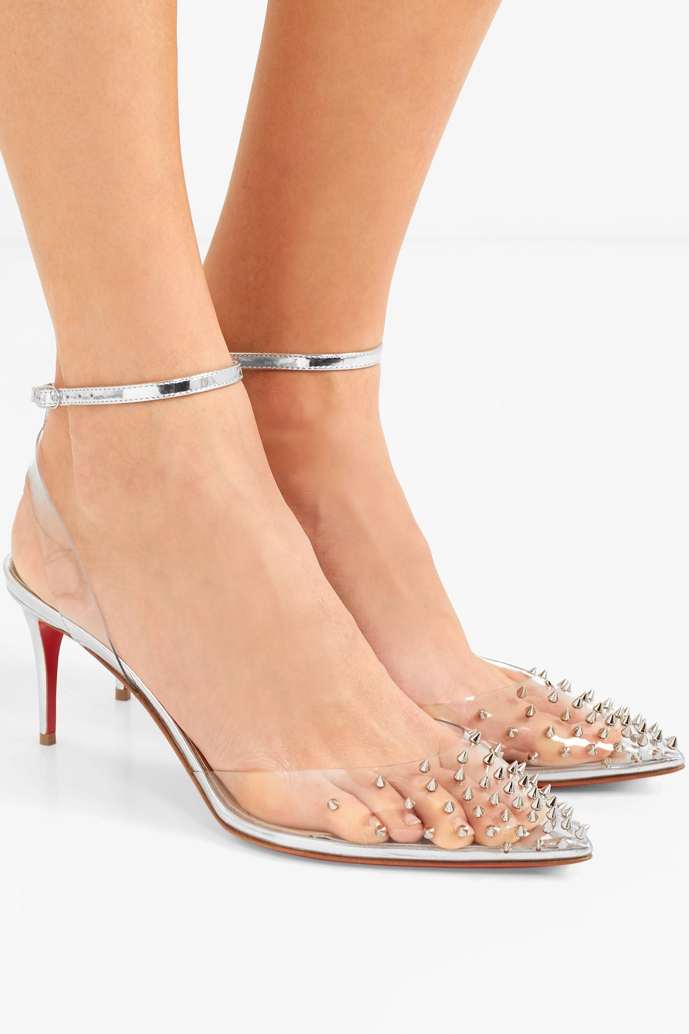 b75e17f7812 Christian Louboutin Metallic Spikoo 70 Spiked Pvc And Mirrored-leather Pumps