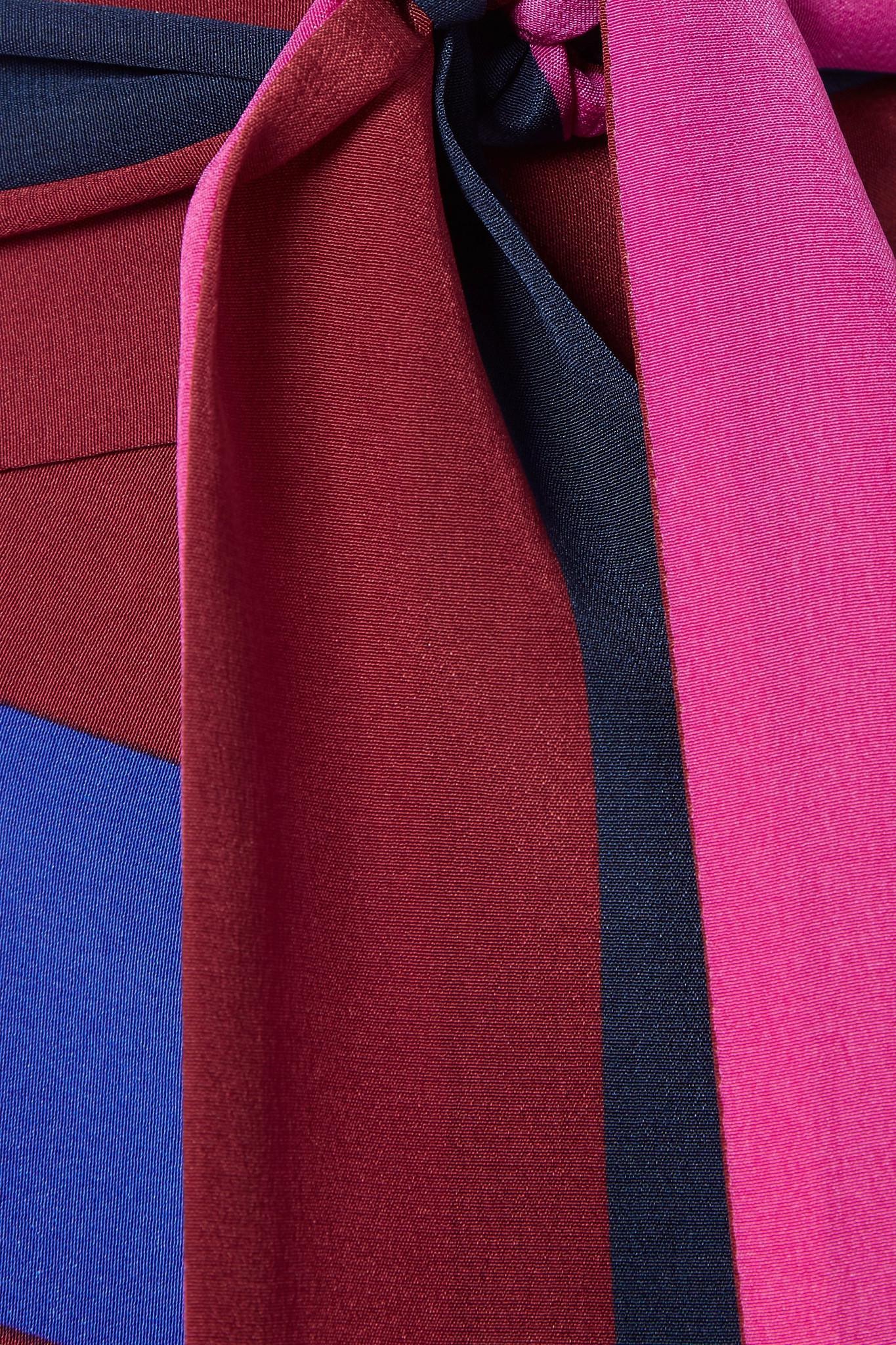 Crêpe Chine Von Midi Diane Coloris Rayures En Jupe Furstenberg Portefeuille Purple Soie À De VSpzMU