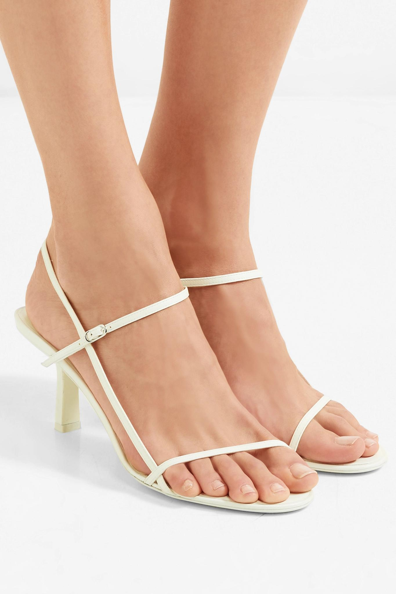 f9c216671ccfa The Row Bare Leather Sandals in White - Lyst