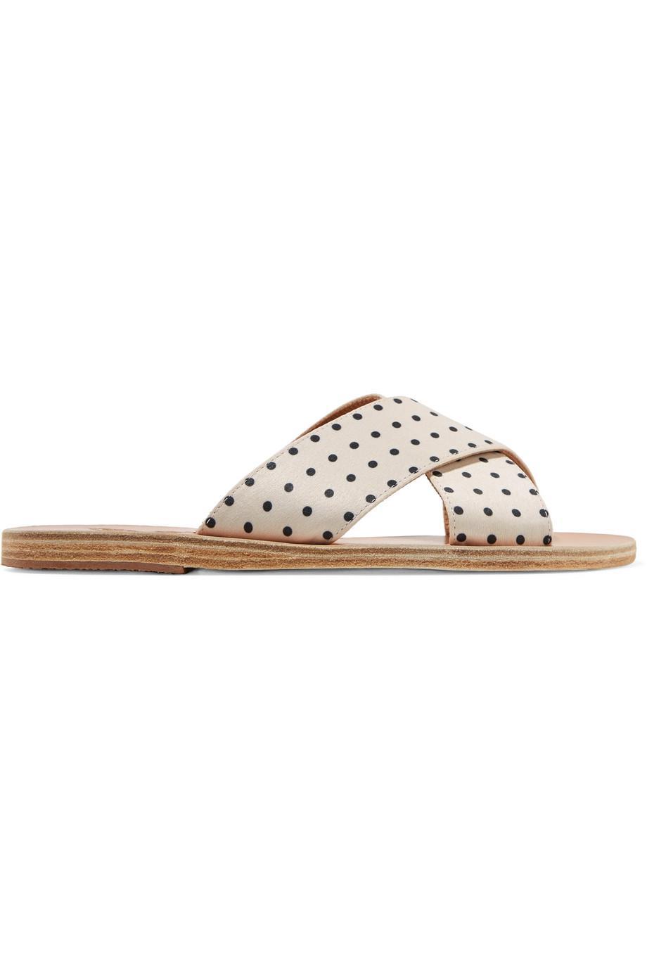 Thais Polka-dot Matte-satin Slides - White Ancient Greek Sandals borIISjW0s