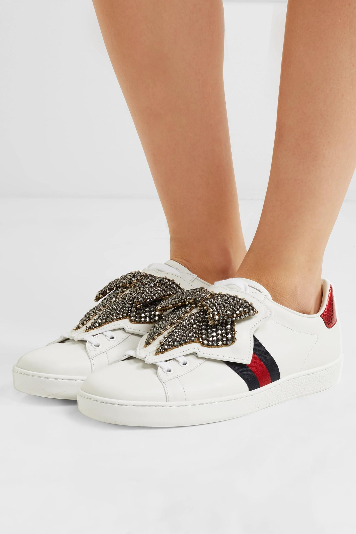26926b57406 Gucci - White Ace Crystal-embellished Watersnake-trimmed Leather Sneakers -  Lyst. View fullscreen