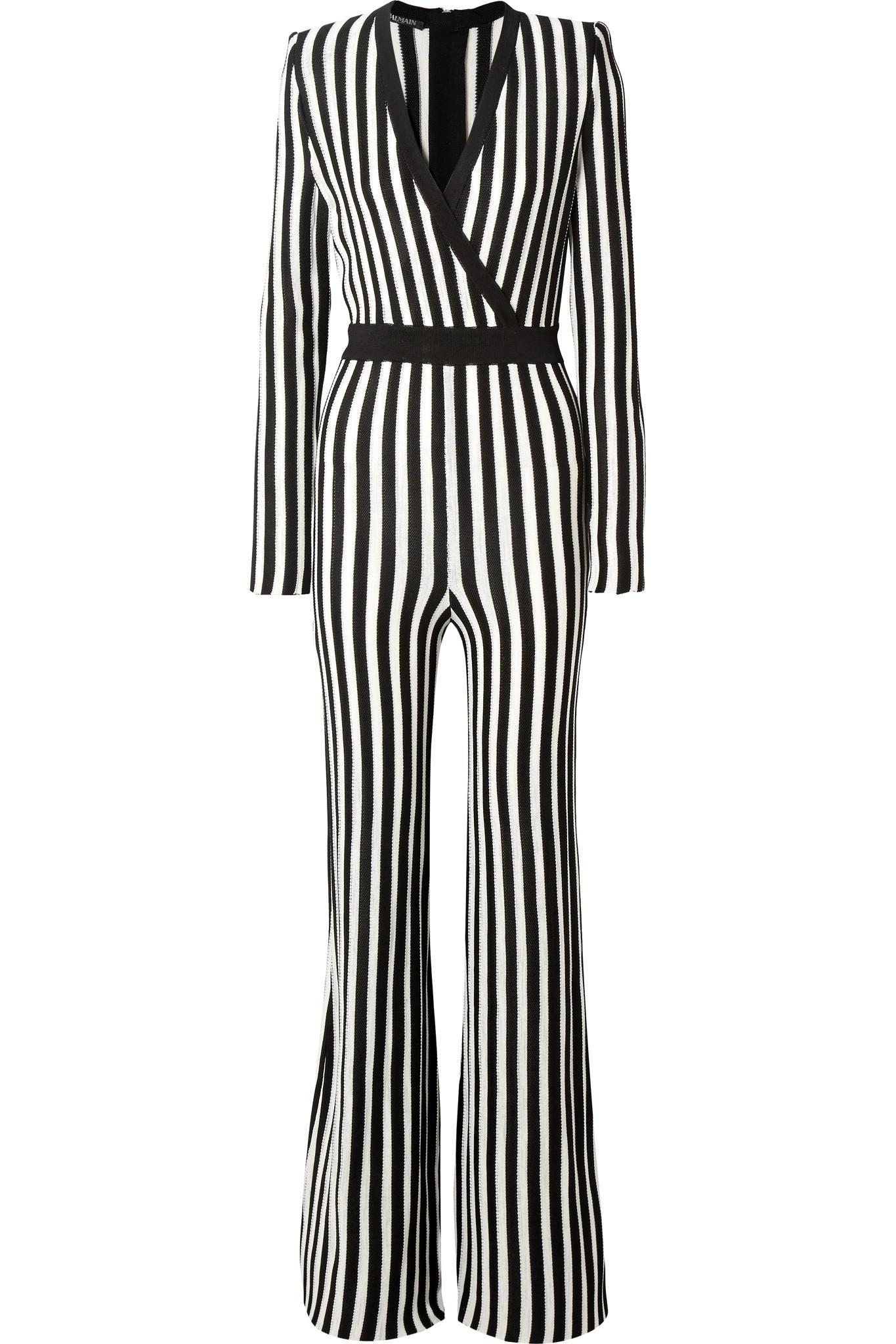 51deb350345 Lyst - Balmain Wrap-effect Striped Stretch-knit Jumpsuit in Black