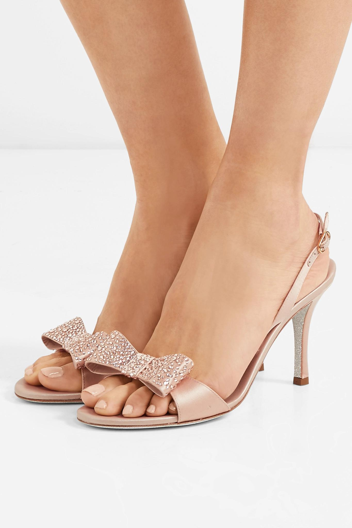 Crystal And Bow-embellished Satin Sandals - Neutral Rene Caovilla Outlet With Paypal Free Shipping Best Place Dszzc