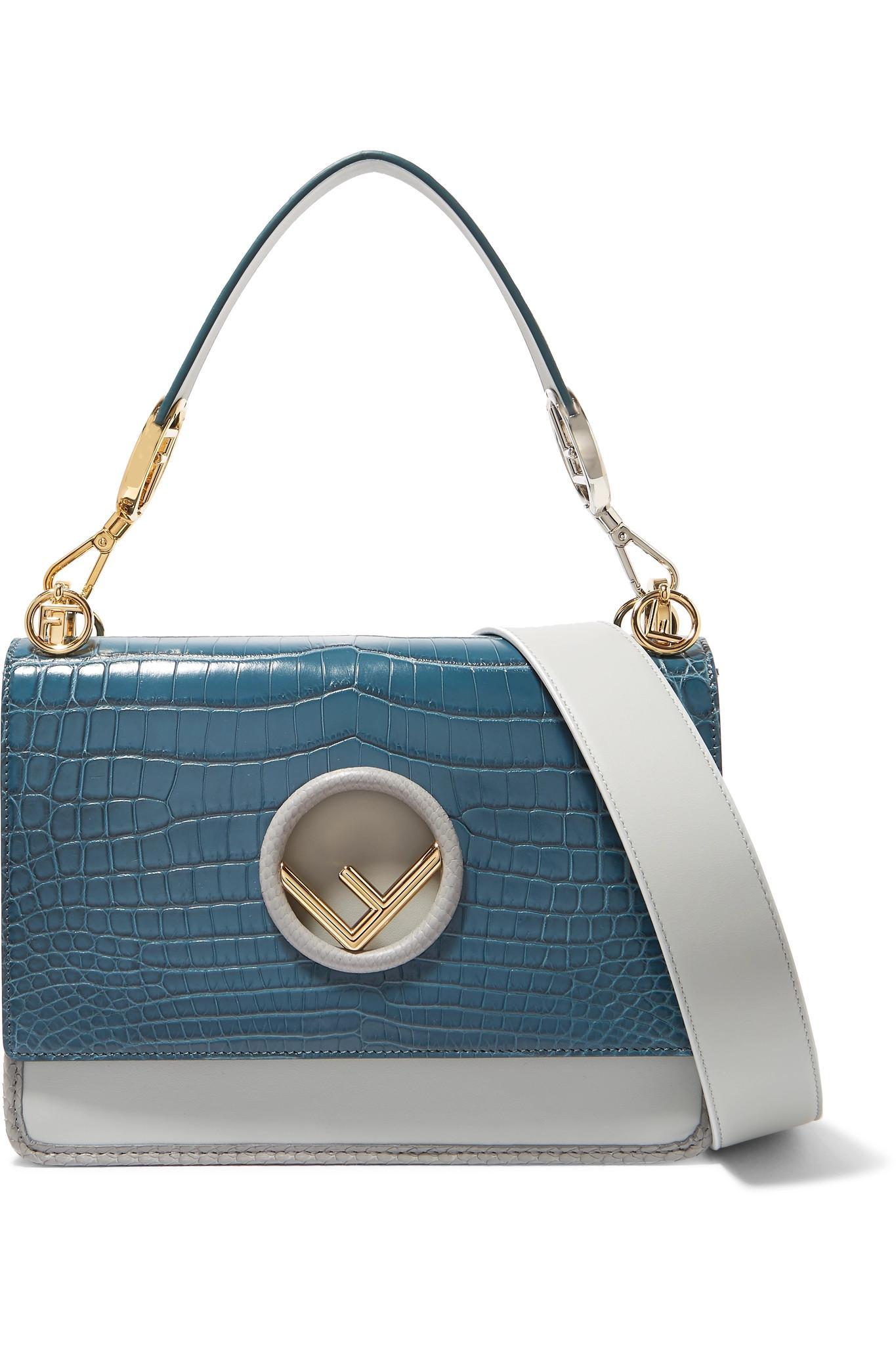 056eee5345 Fendi. Women s Blue Kan I Python-trimmed Leather And Crocodile Shoulder Bag