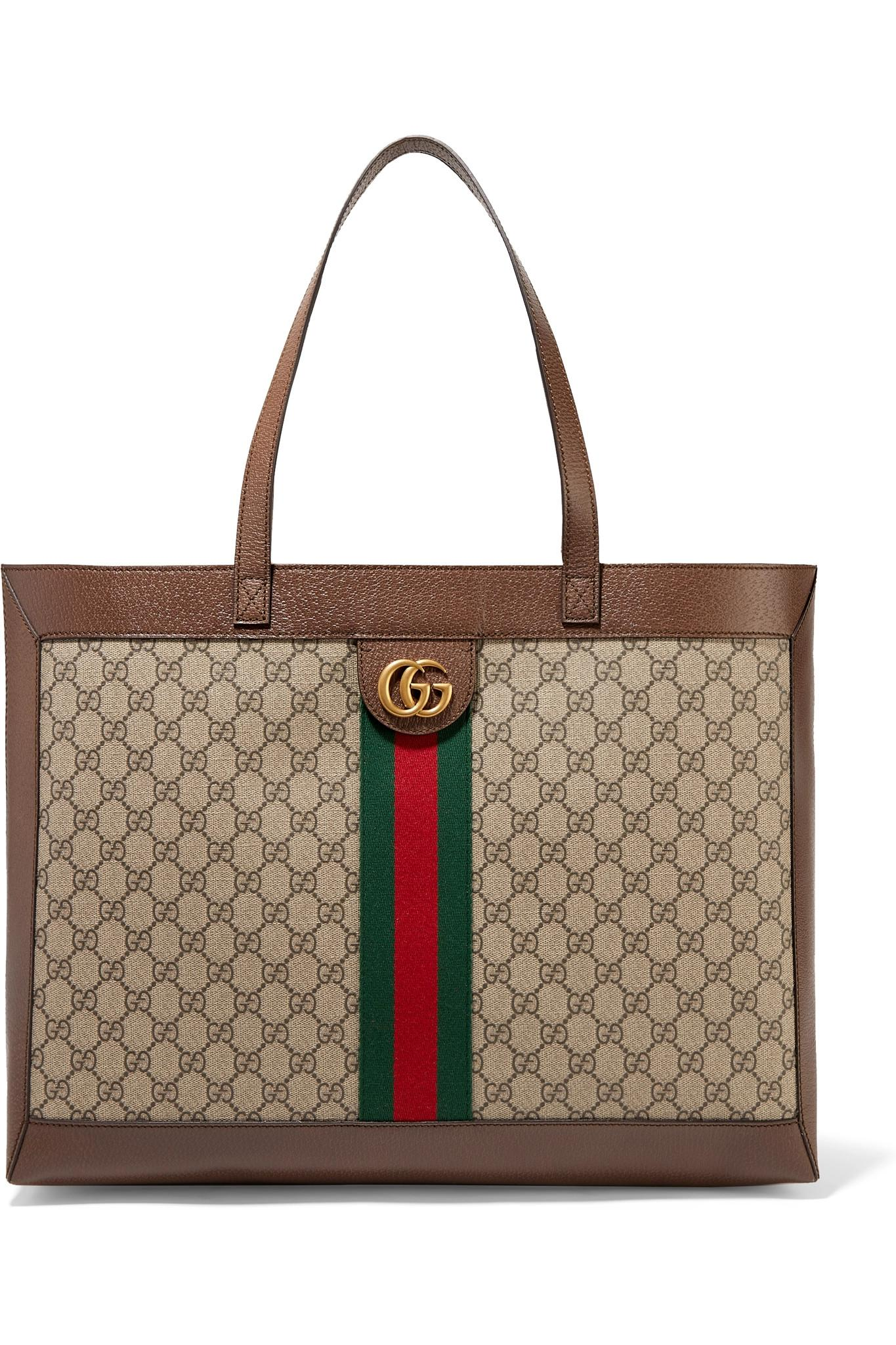 568dd6f5cef9 Gucci. Women's Natural Ophidia Textured Leather-trimmed Printed Coated-canvas  Tote