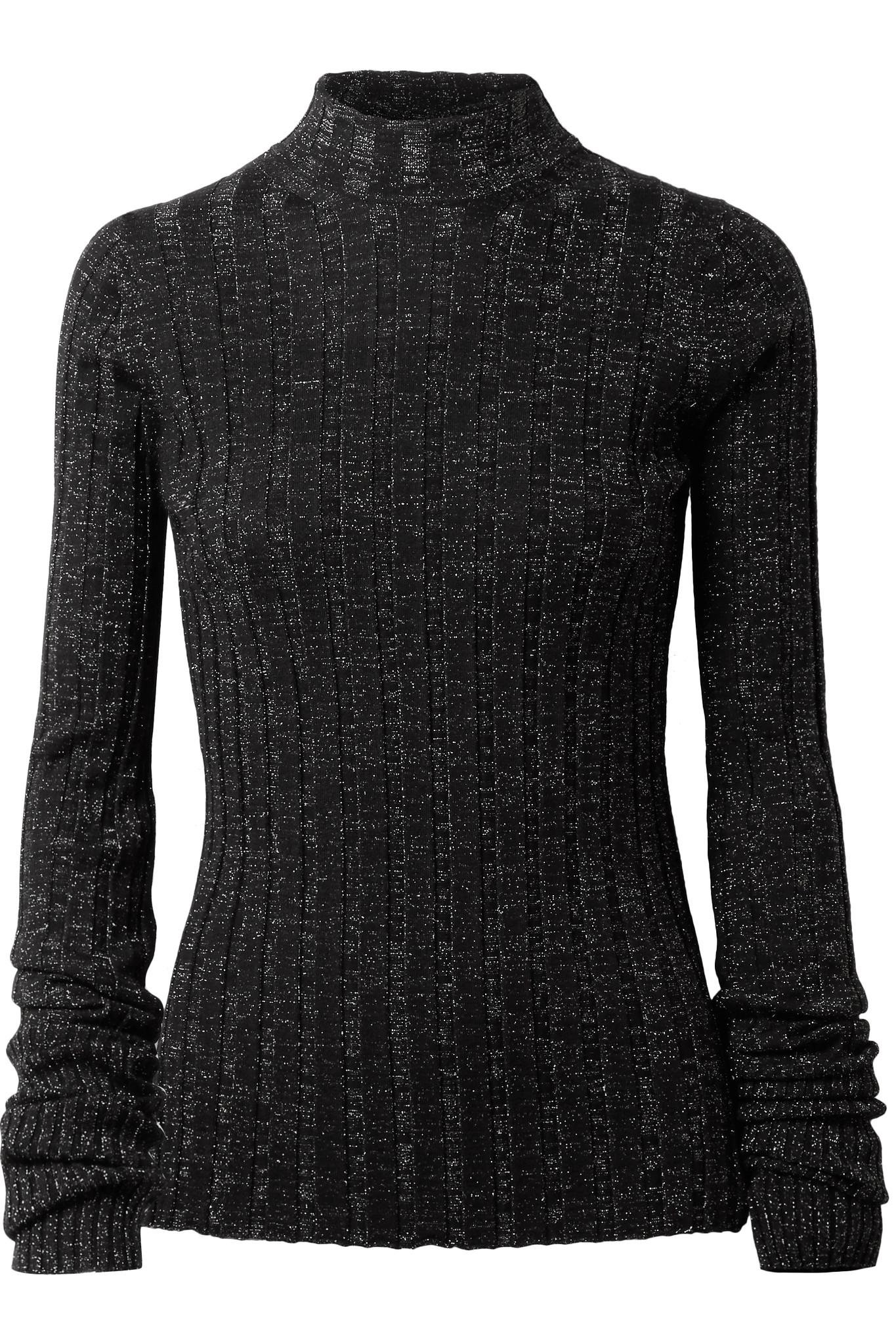 Theory Metallic Ribbed Merino Wool-blend Turtleneck Sweater in ...