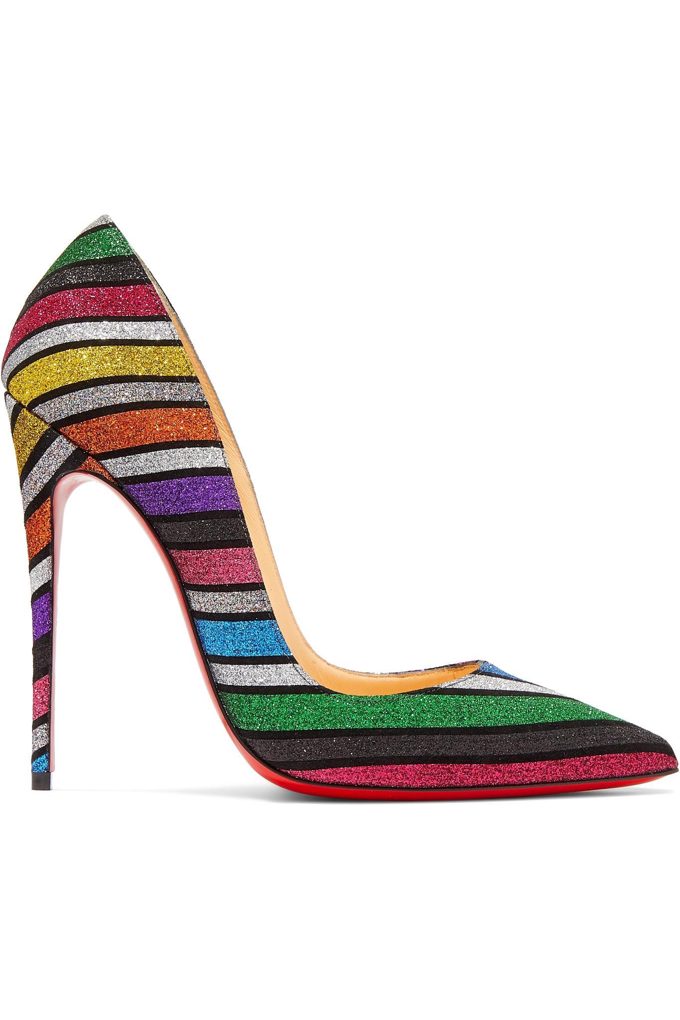 650bf0e6aa Christian Louboutin. Women's Metallic So Kate 120 Striped Glittered Suede  Pumps