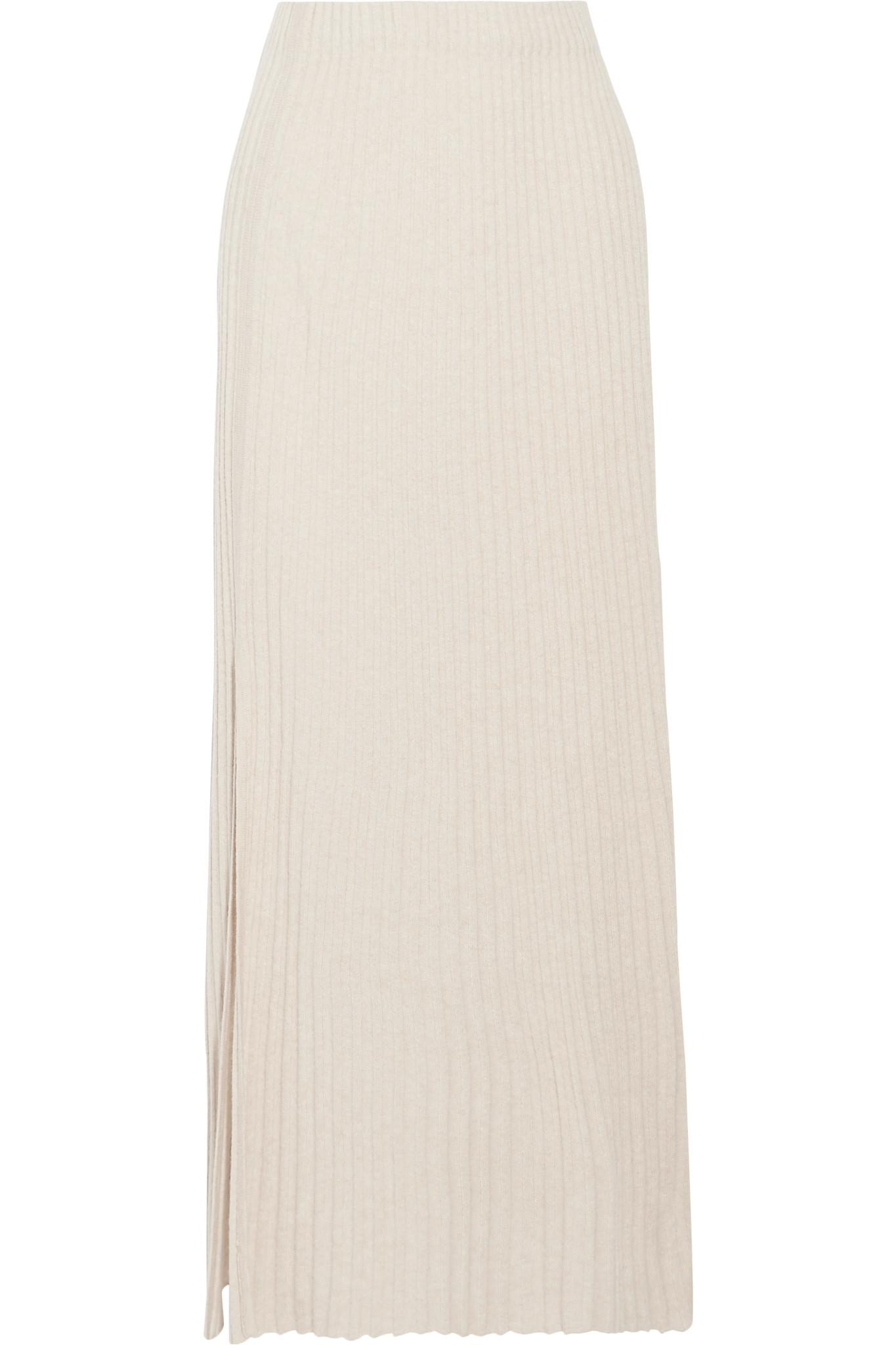 751e27ab40 Elizabeth and James Joelle Ribbed Stretch-knit Maxi Skirt in Natural ...