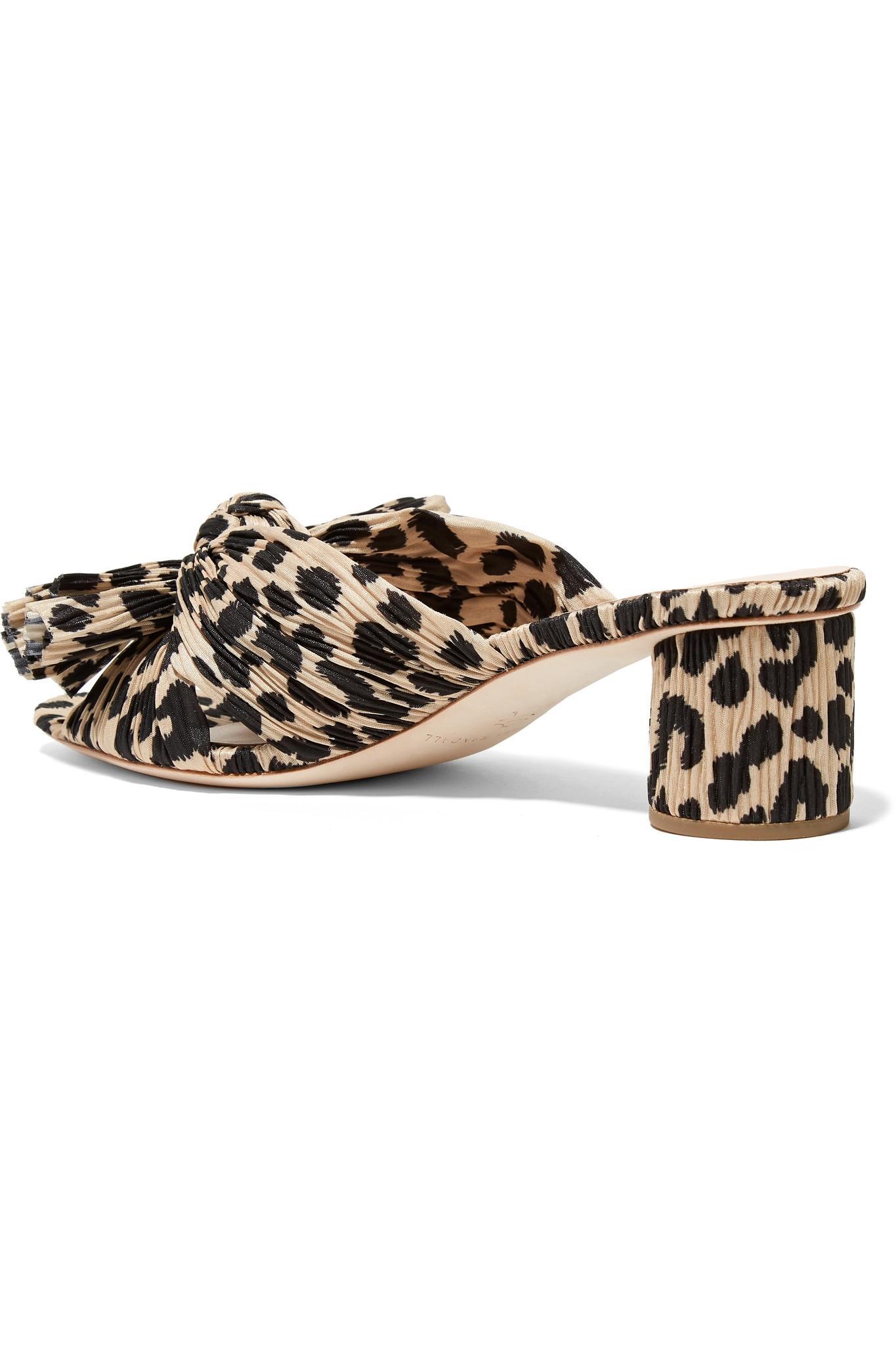 d9837088e871 Loeffler Randall Emilia Bow-detailed Leopard-print Plissé-lamé Mules - Lyst