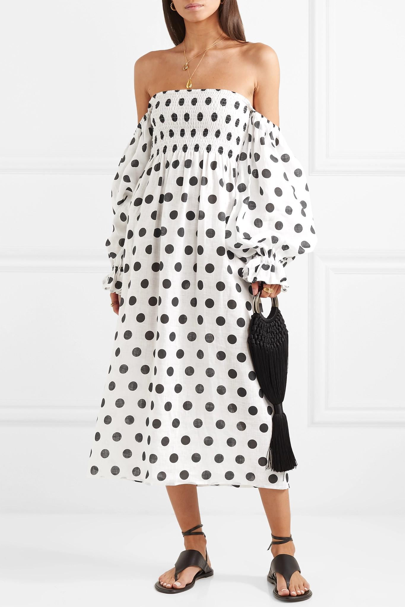 45af1fa998 Sleeper - White Atlanta Off-the-shoulder Shirred Polka-dot Linen Midi Dress.  View fullscreen