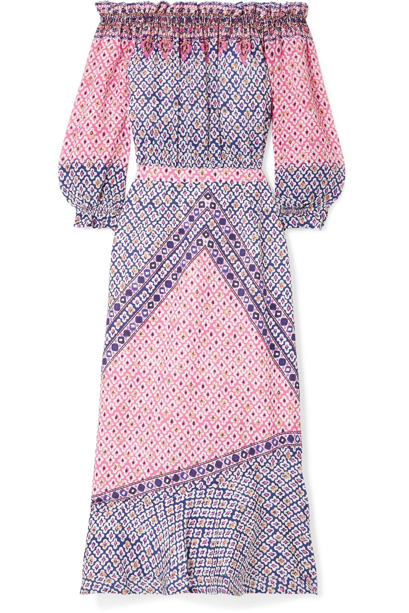 Grace Off-the-shoulder Printed Silk Crepe De Chine Midi Dress - Purple Saloni pqhJFbN