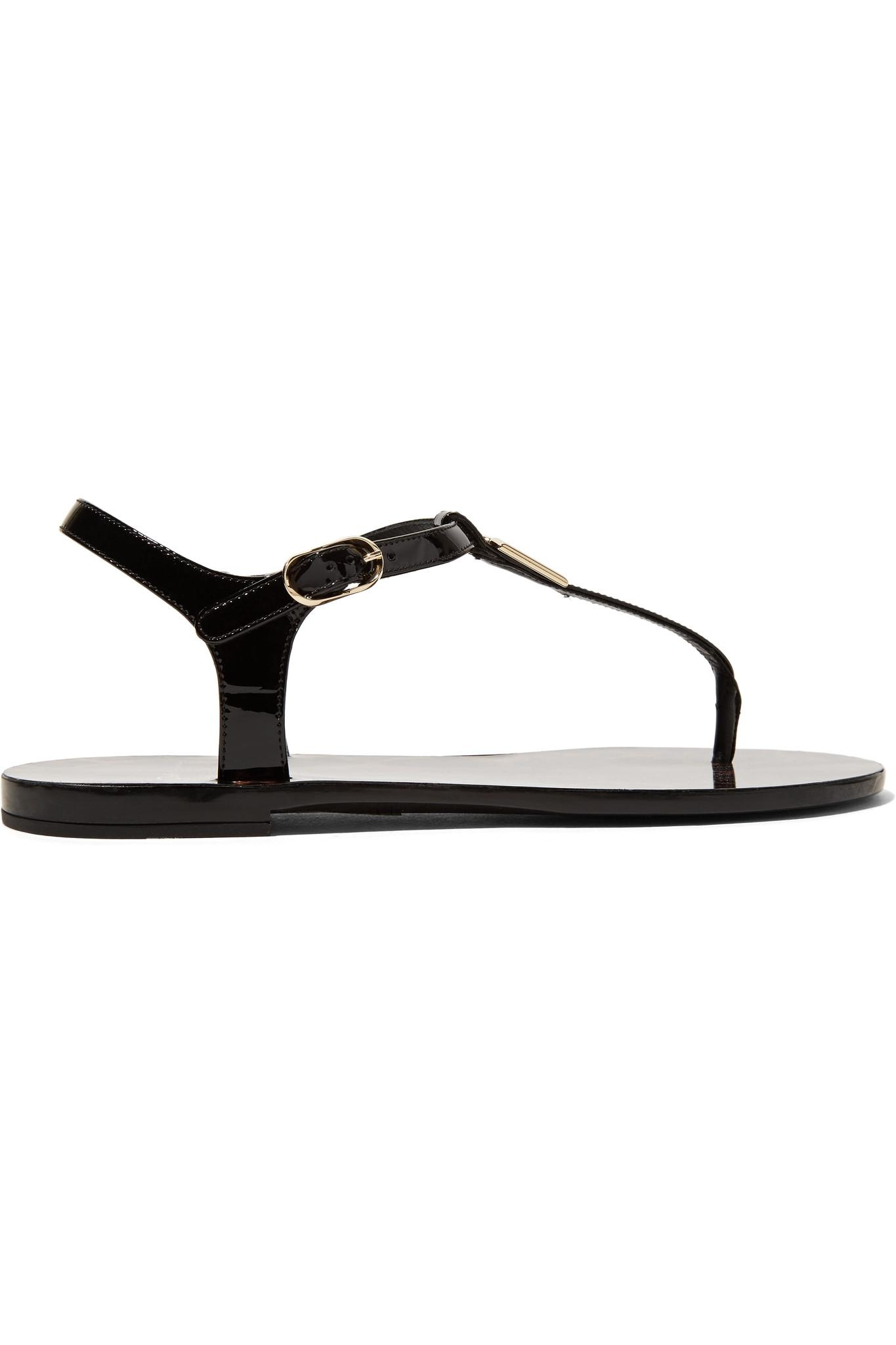Dolce gabbana embellished patent leather sandals in for Net a porter logo