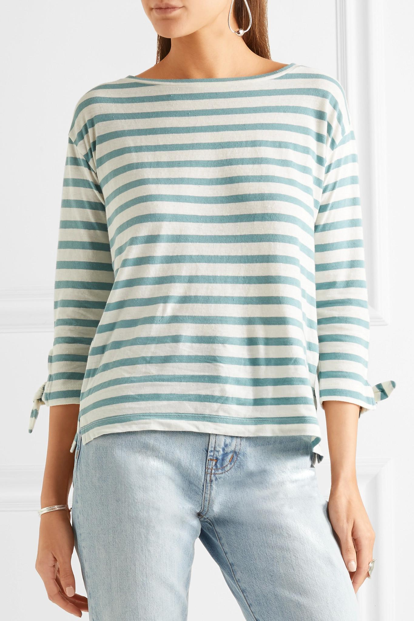 5f40b8577ee Lyst - Madewell Marisol Striped Slub Cotton And Linen-blend Top in Green