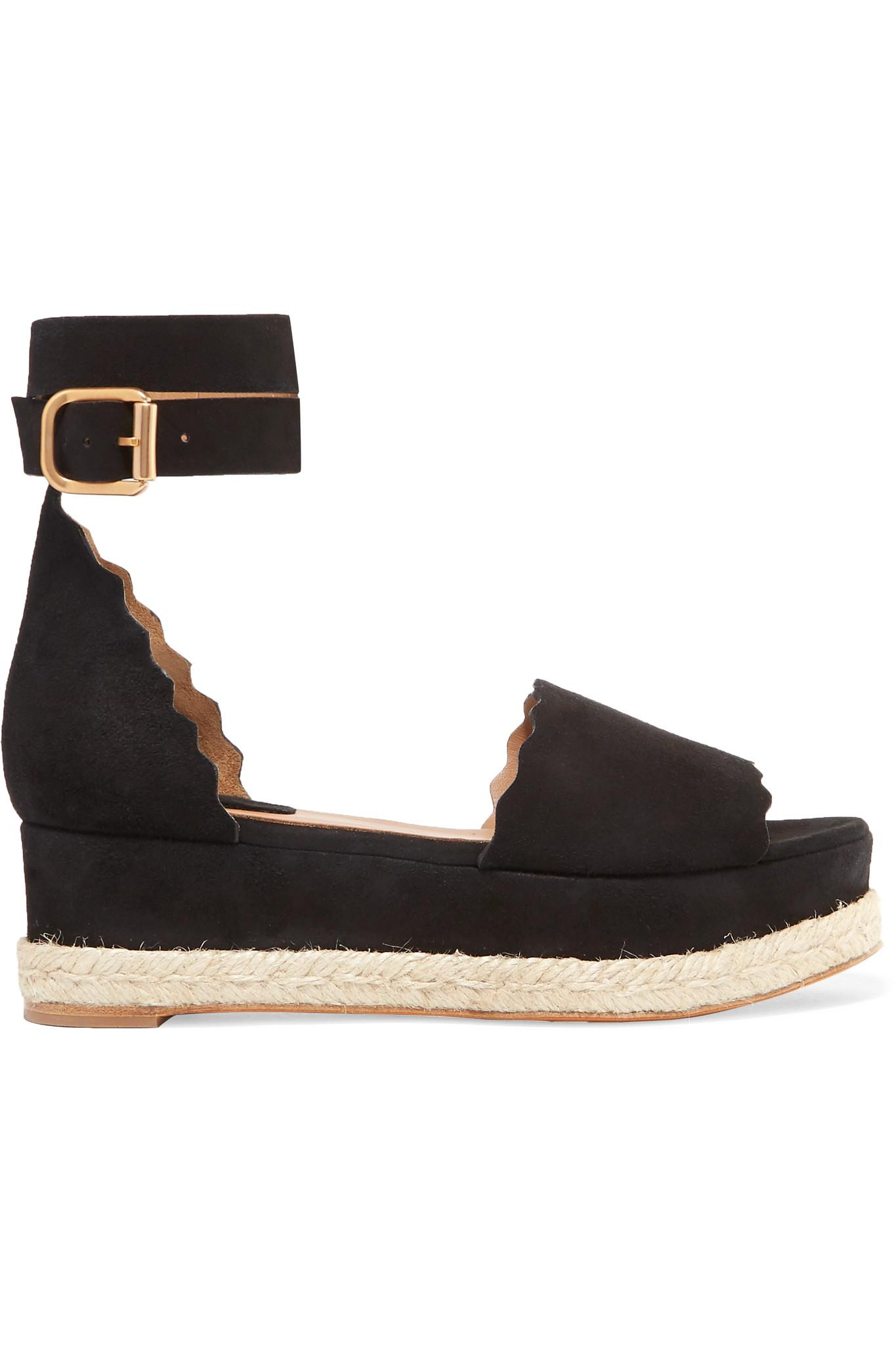 aeb5a582970f Lyst - Chloé Lauren Scalloped Suede Espadrille Platform Sandals in Black