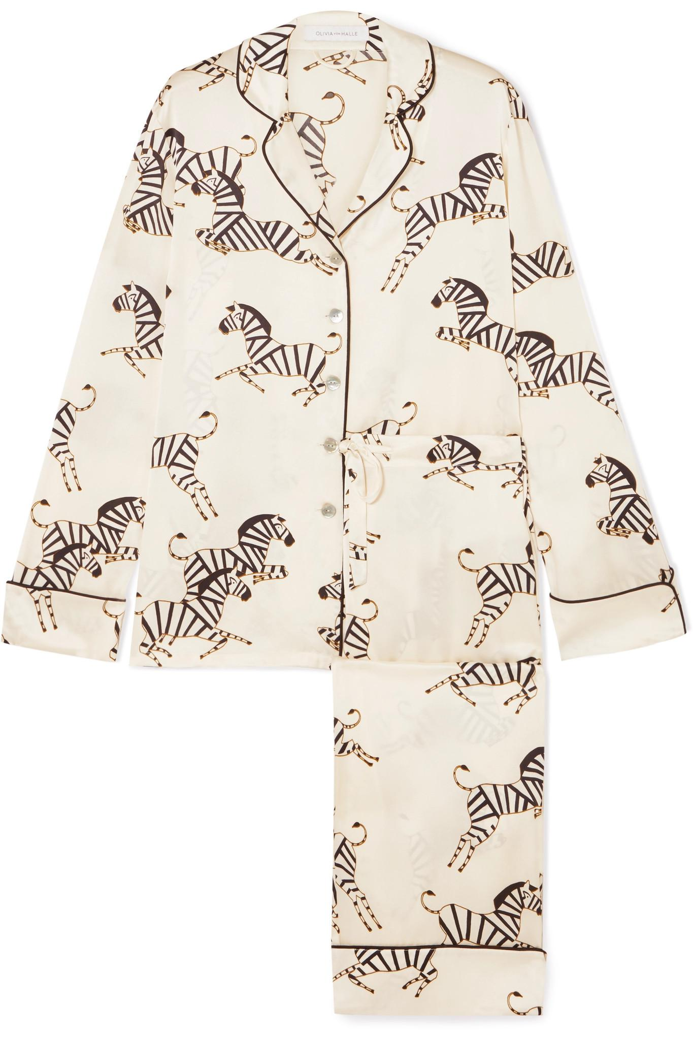 Lyst - Olivia Von Halle Lila Printed Silk-charmeuse Pajama Set in White 1789a42ad