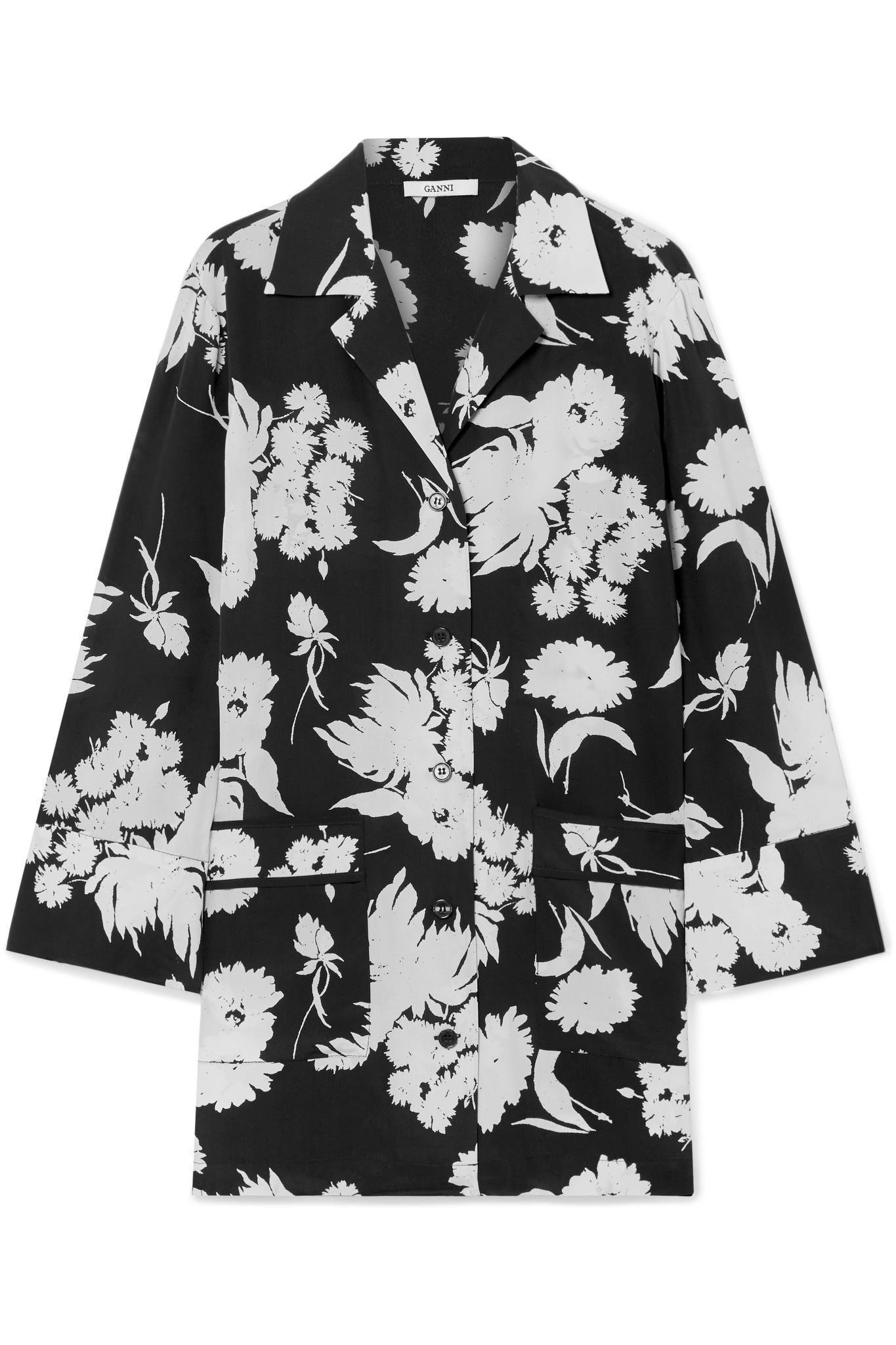 f55e1b04b39c1 Ganni - Black Floral-print Silk Crepe De Chine Shirt - Lyst. View fullscreen