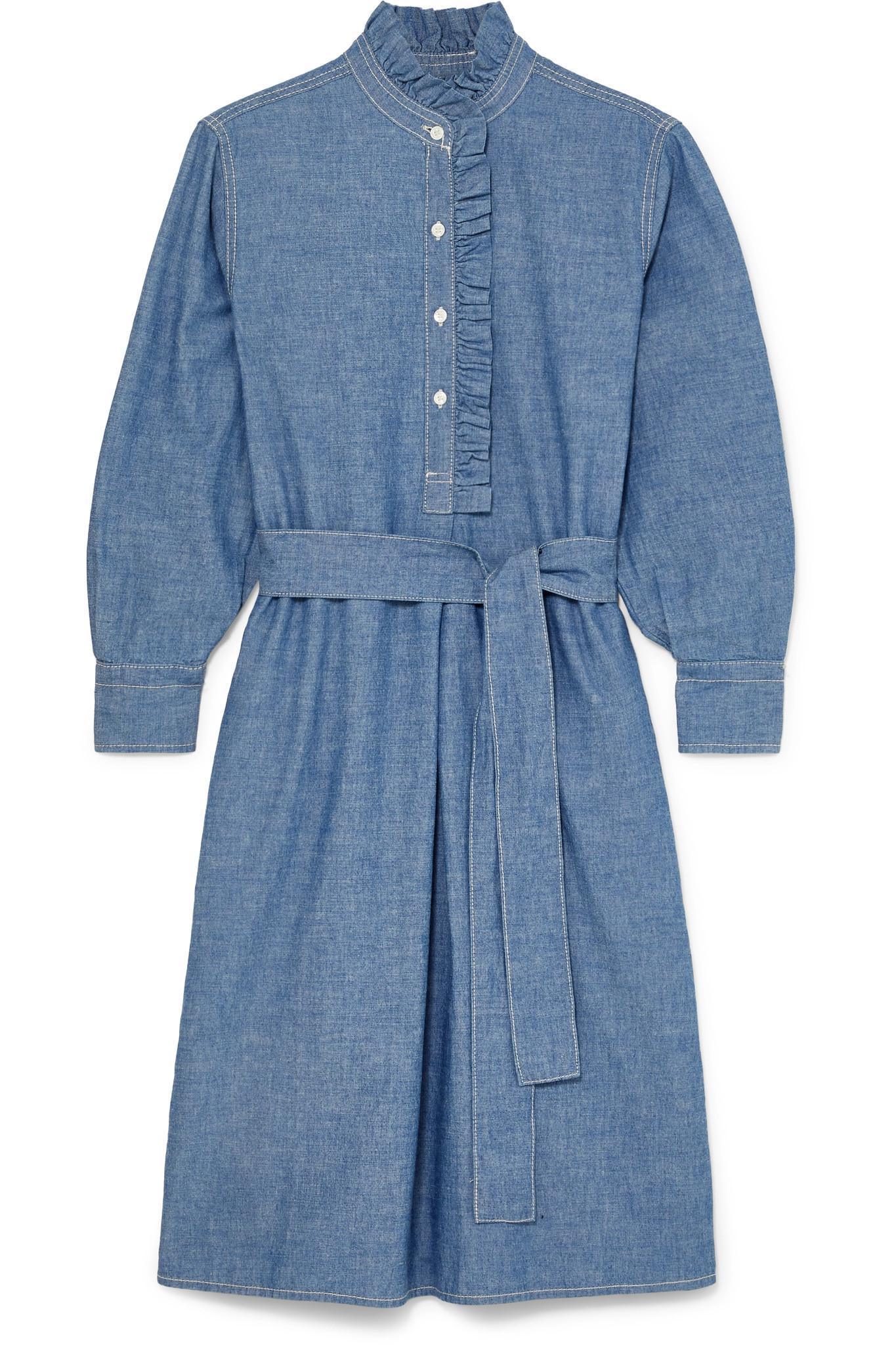 dd032b7f2c Tory Burch. Women s Blue Deneuve Belted Ruffle-trimmed Cotton-chambray Dress