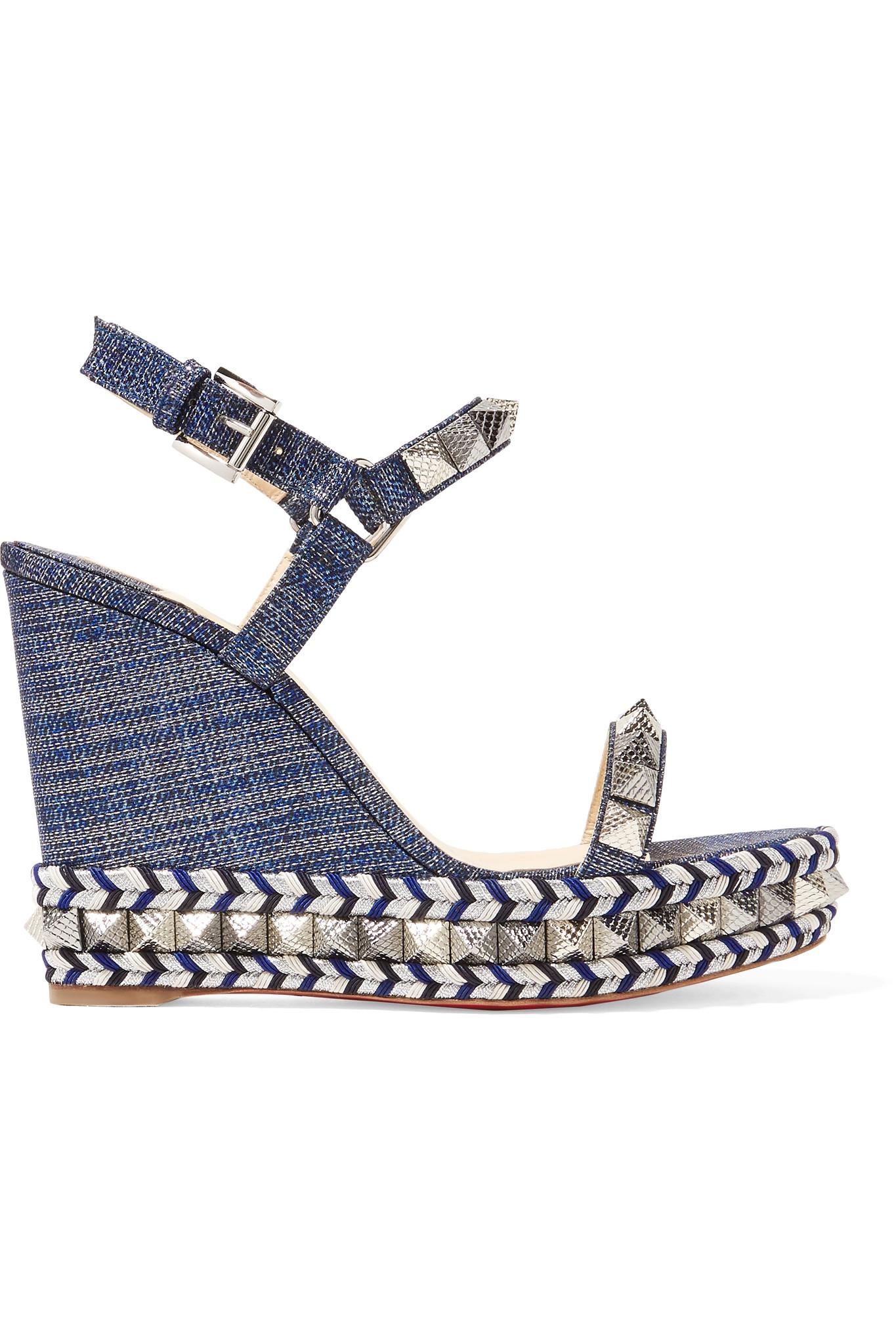 64bb2ff82a7c Christian Louboutin Pyraclou 110 Spiked Lamé Wedge Sandals in Blue ...