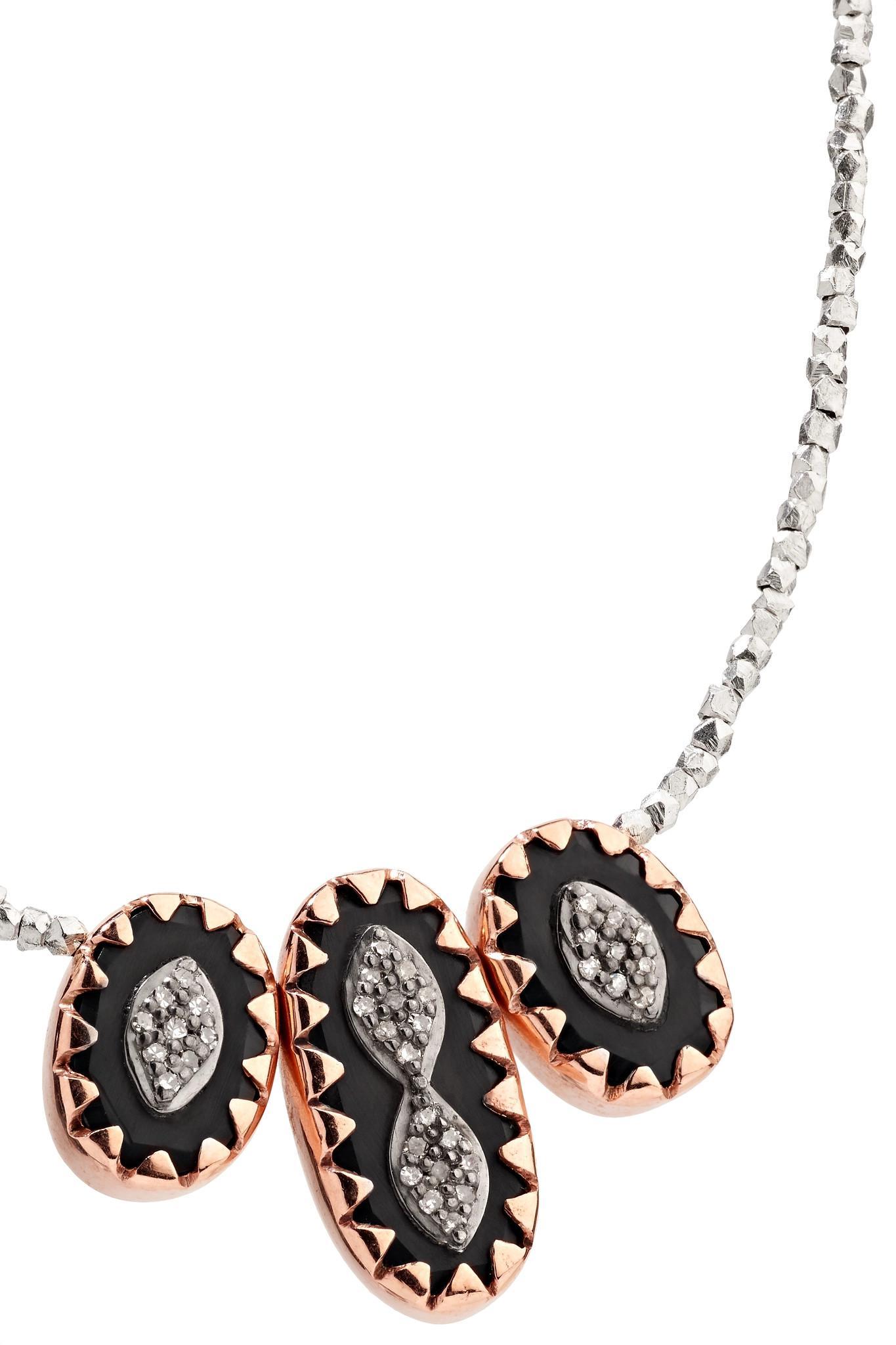 Pascale Monvoisin Montauk 9-karat Rose Gold, Sterling Silver, Bakelite And Diamond Necklace in Metallic