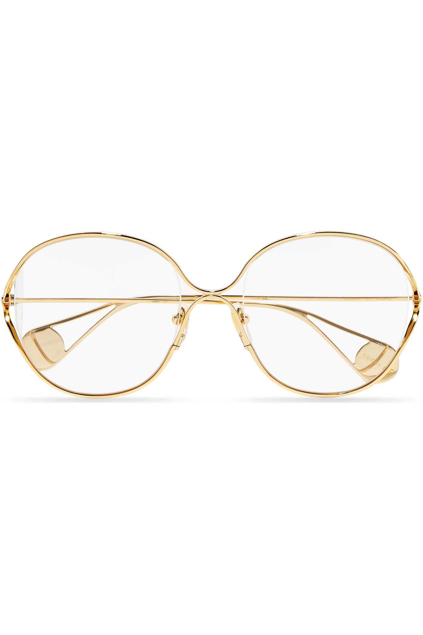 e1a655c352d Lyst - Gucci Round-frame Gold-tone Optical Glasses in Metallic
