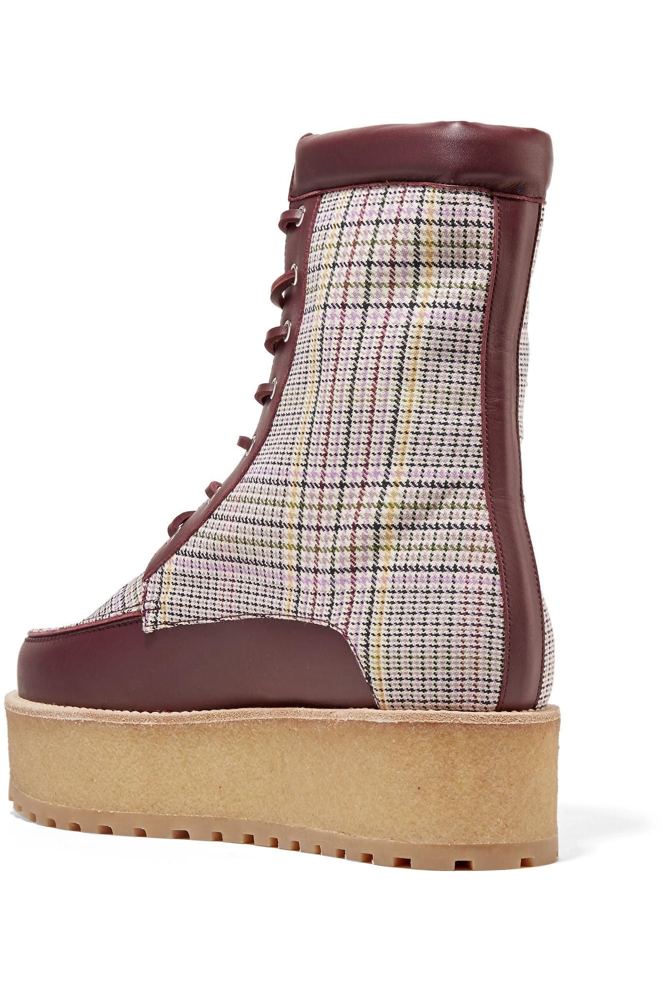 Gabriela Hearst Wool David Boots With Plaid Print