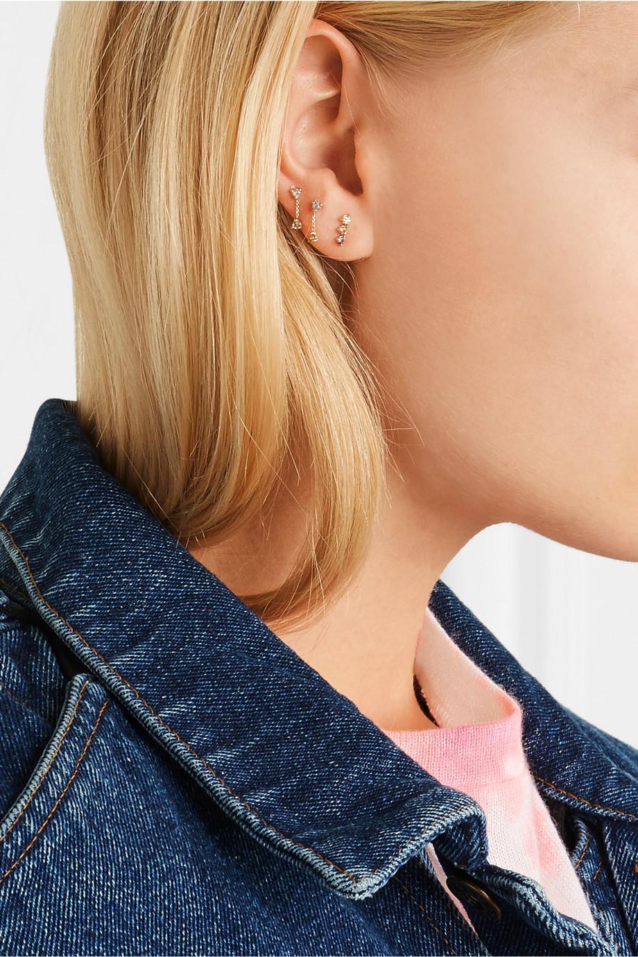 Wwake Three Step Gradient 14-karat Gold Multi-stone Earring UPOWRd