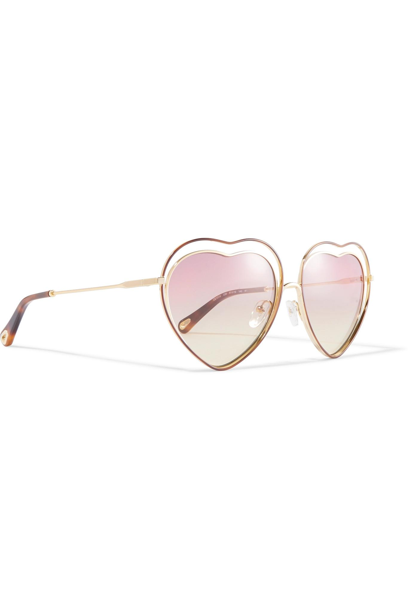 c31d17010f ... Poppy Love Heart-shaped Acetate And Gold-tone Sunglasses - Lyst. View  fullscreen