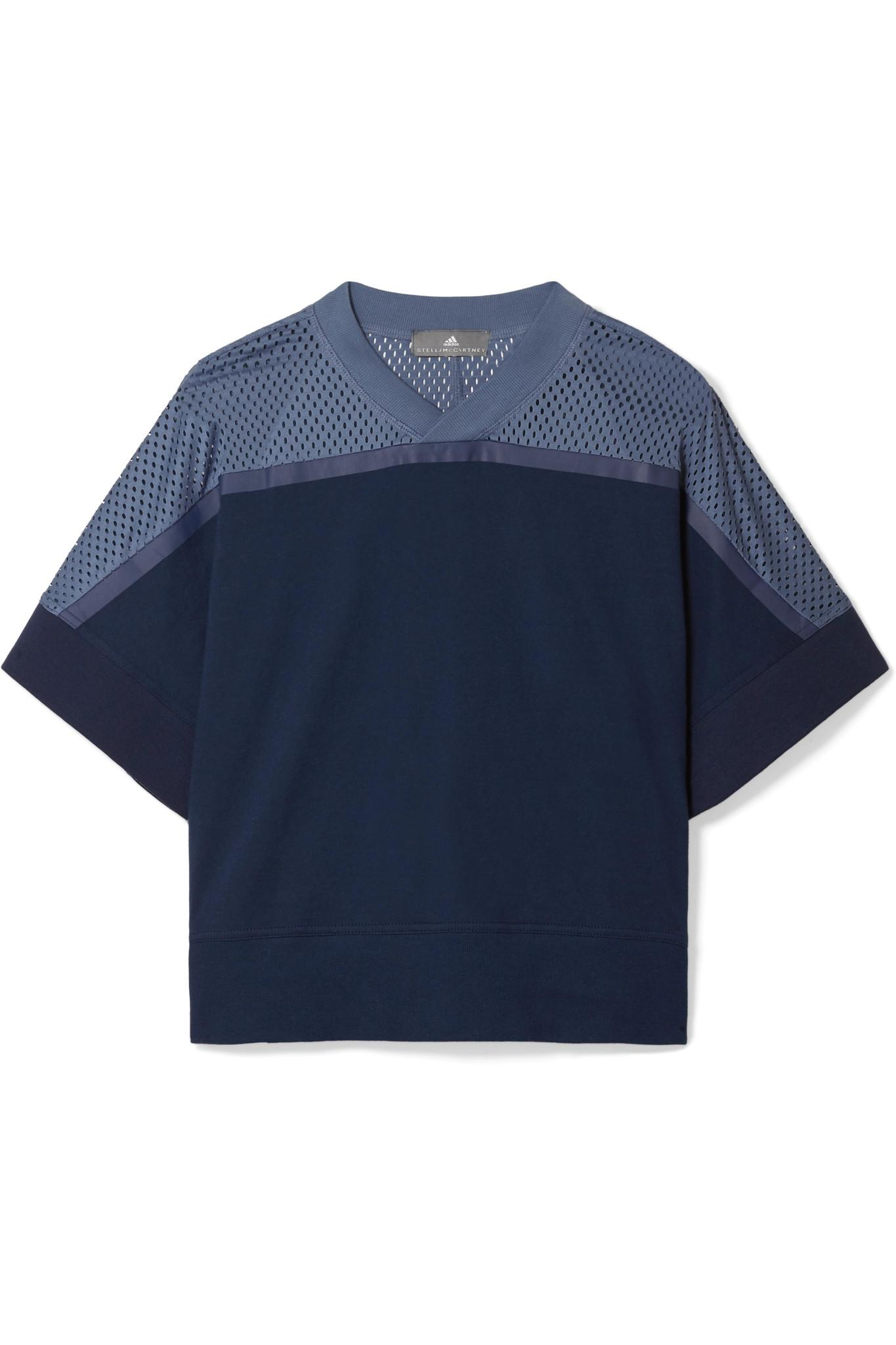 Climacool Mesh-paneled Organic Cotton-jersey T-shirt - Navy adidas by Stella McCartney Clearance Best Release Dates kjSglPKufE