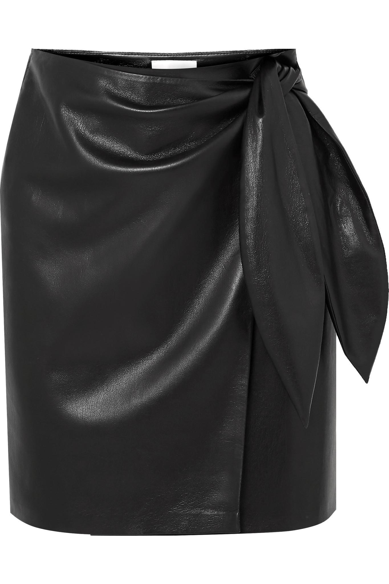 7fa71f33e2a6 Lyst - Nanushka Iowa Vegan Faux Leather Wrap Mini Skirt in Black
