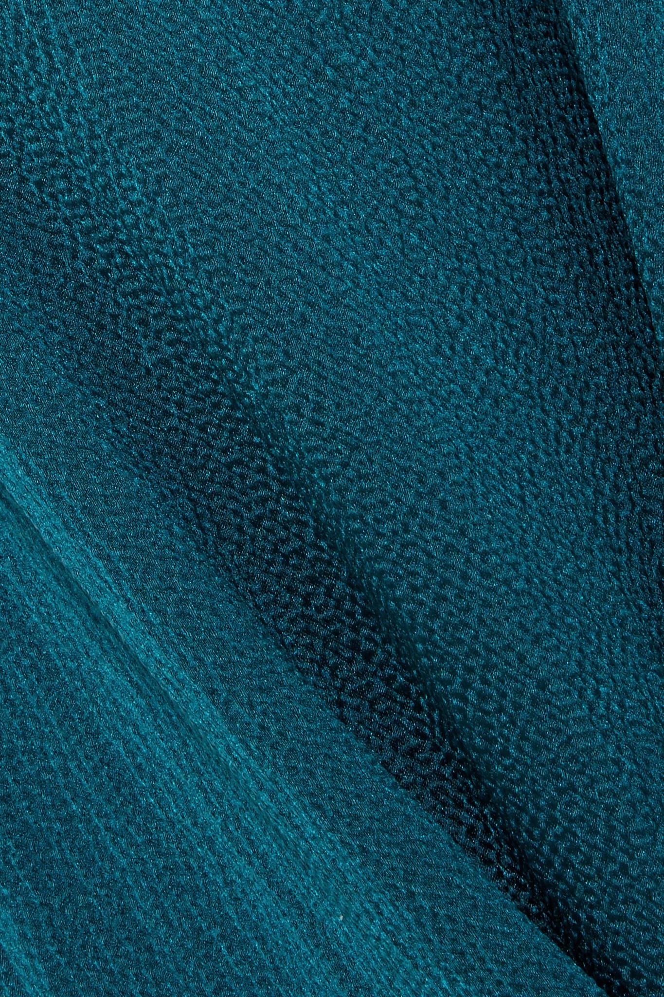 Safiyaa Nara Hammered Silk-satin Wide-leg Pants in Emerald (Green)