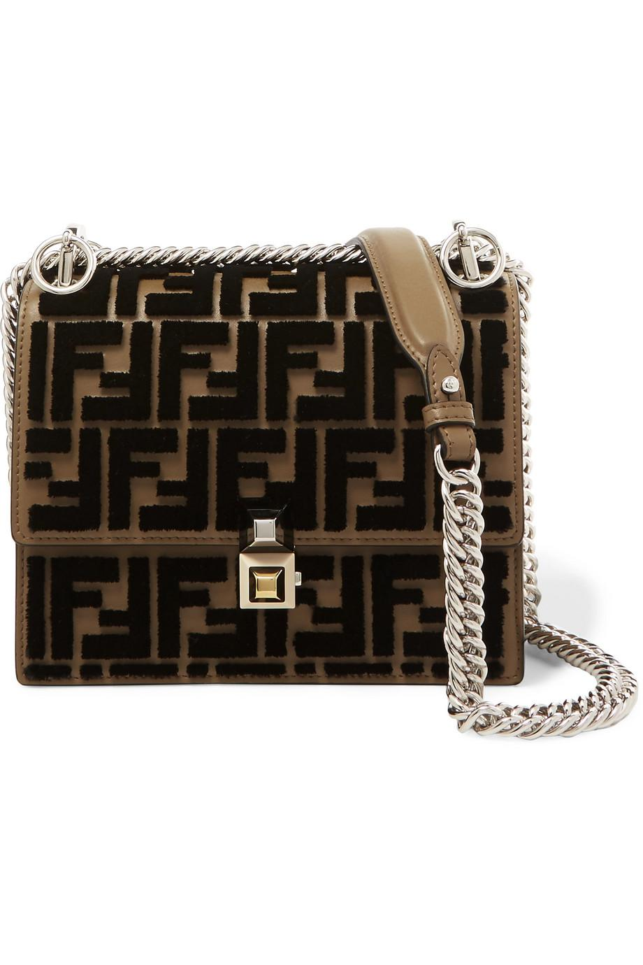 Kan I Small Flocked Leather Shoulder Bag - Brown Fendi gzyq4crBC