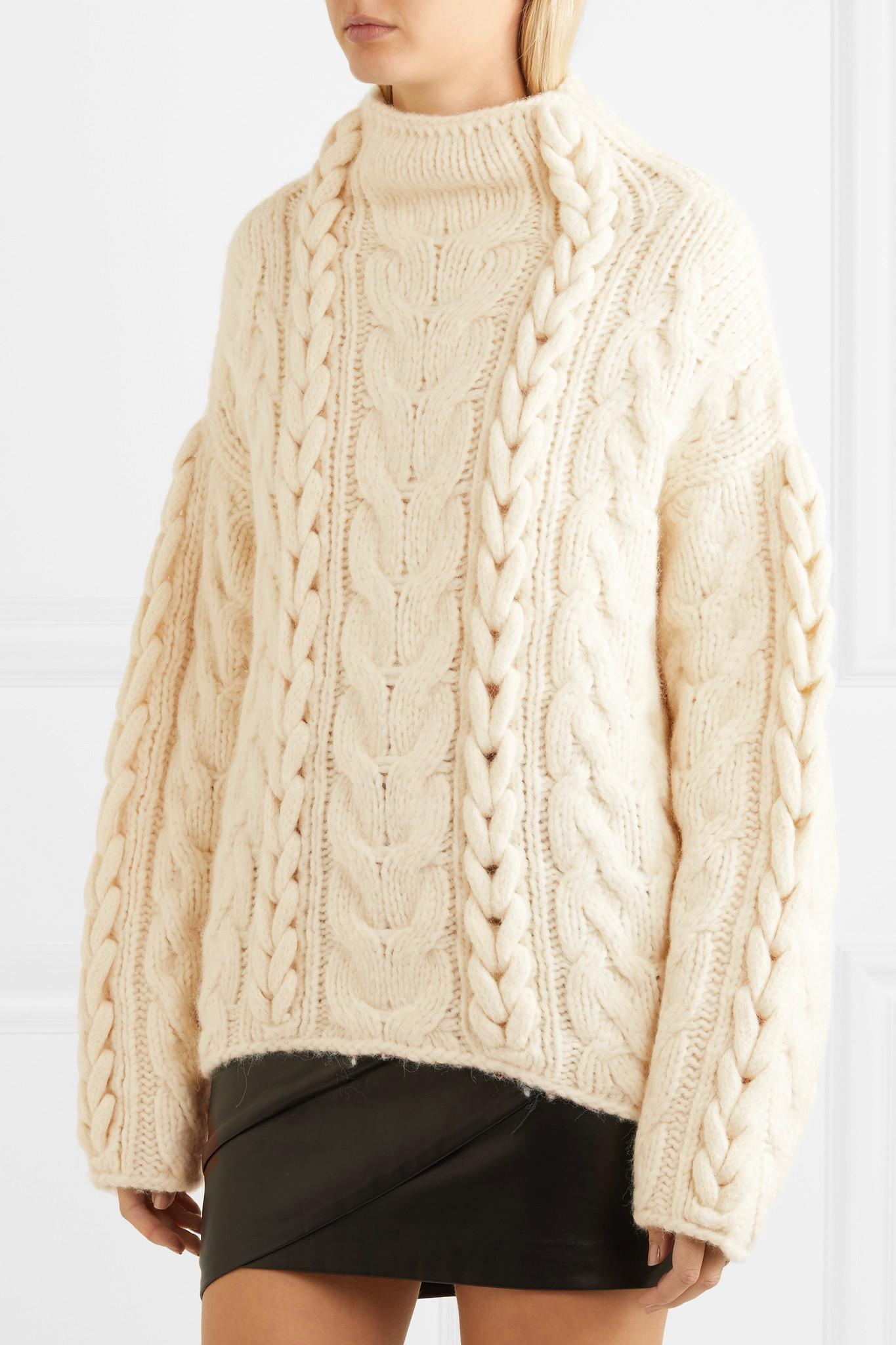 Iro Nijyn Oversized Cable-knit Alpaca-blend Sweater in Natural | Lyst