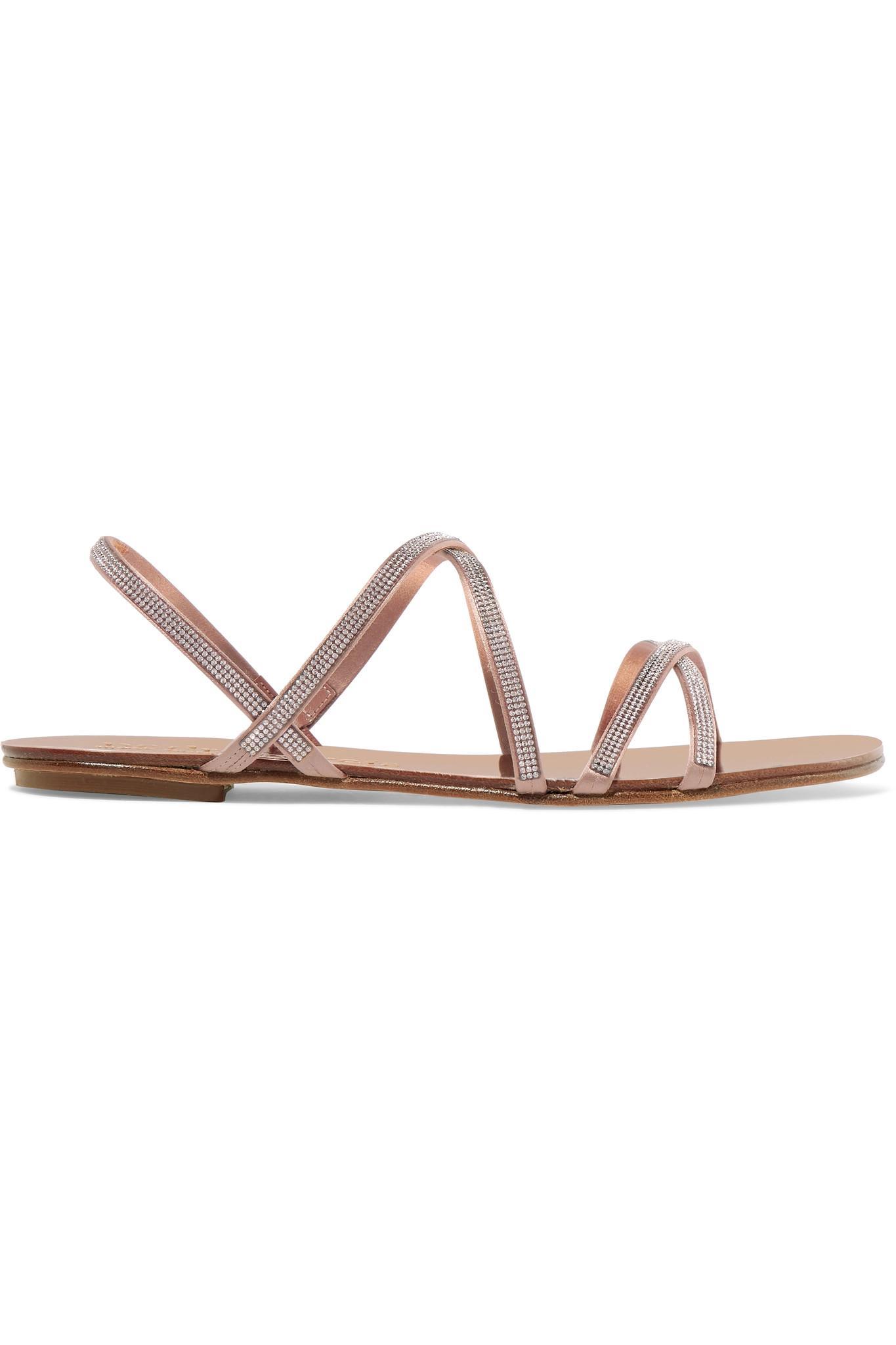 0ffe84ddb334a Pedro Garcia. Women s Natural Sarabel Swarovski Crystal-embellished Satin  Sandals