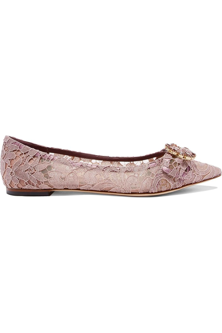 Crystal-embellished Corded Lace Point-toe Flats - Lilac Dolce & Gabbana 2oxd5