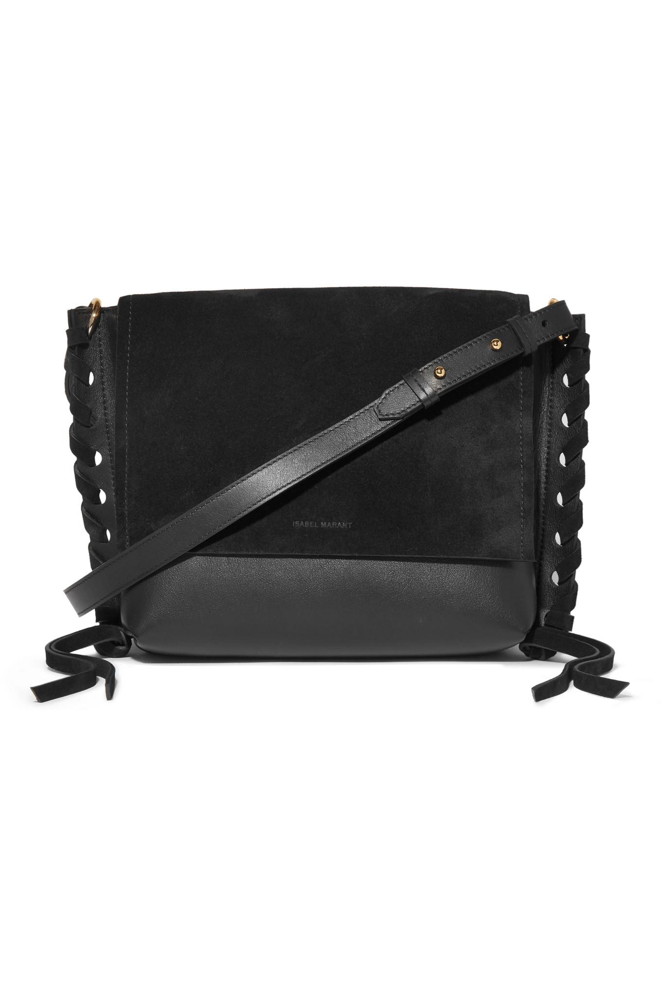 Asli Whipstitched Leather And Suede Shoulder Bag - Black Isabel Marant fT6kUGdM