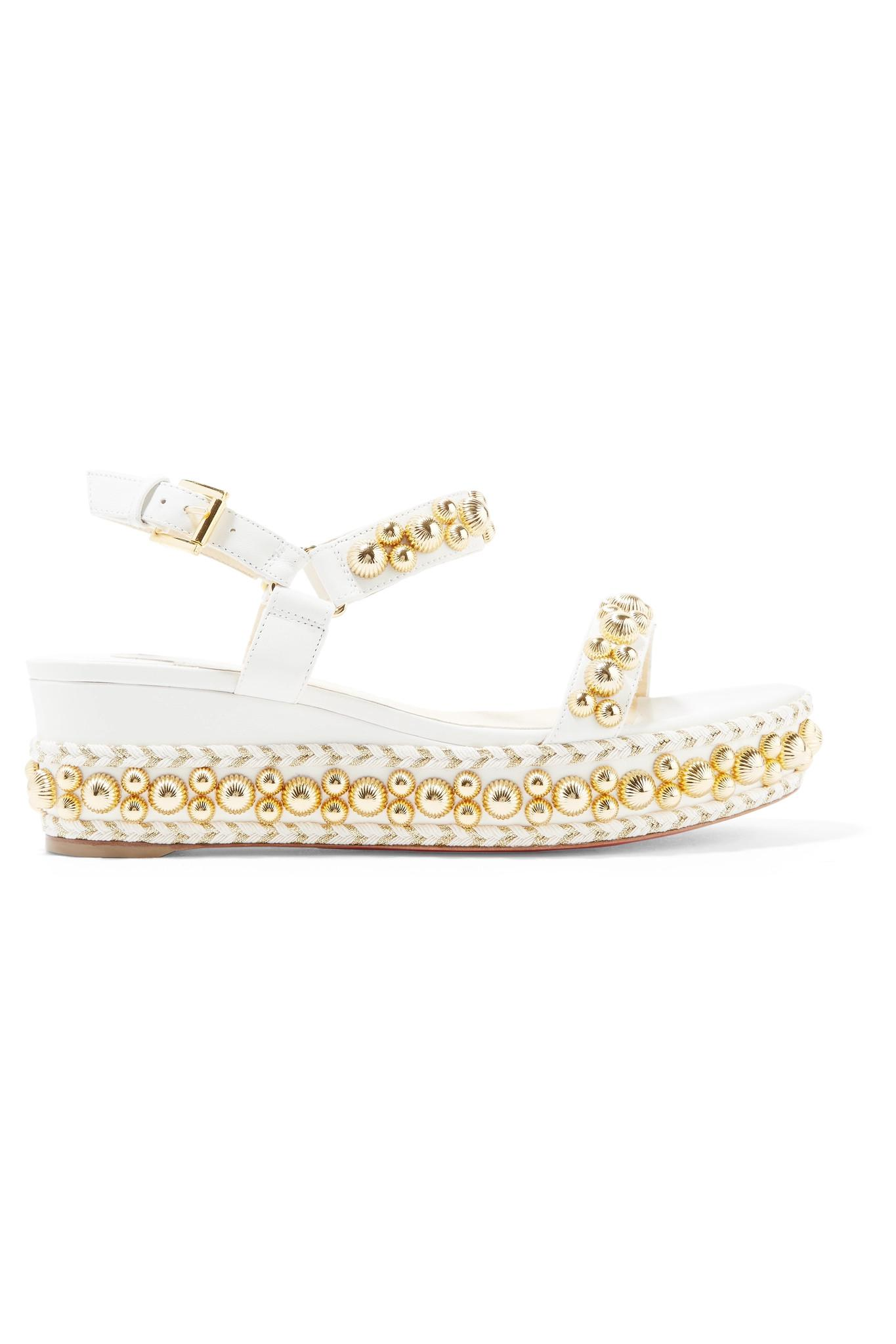 66facbd4374 Lyst - Christian Louboutin Rondaclou 60 Studded Leather Wedge Sandals