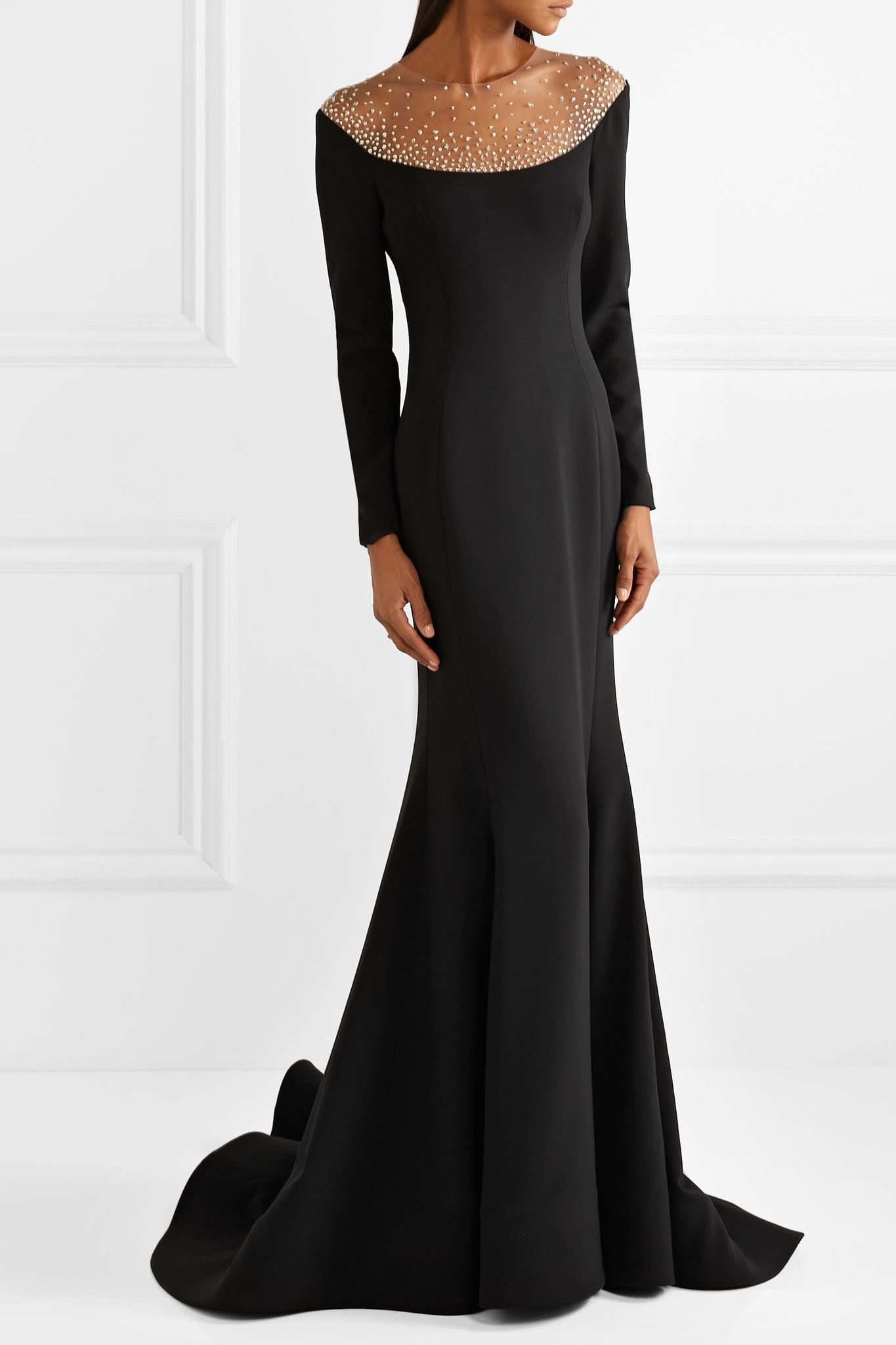 2c771ab43cb Lyst - Reem Acra Pleated Embellished Tulle And Cady Gown in Black