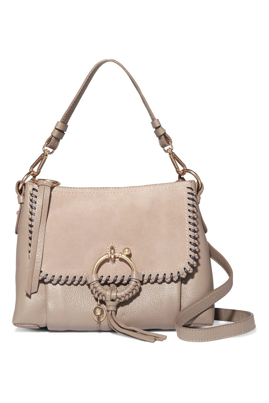 Joan Small Whipstitched Suede-paneled Textured-leather Shoulder Bag - Gray See By Chlo PyIqWqBn