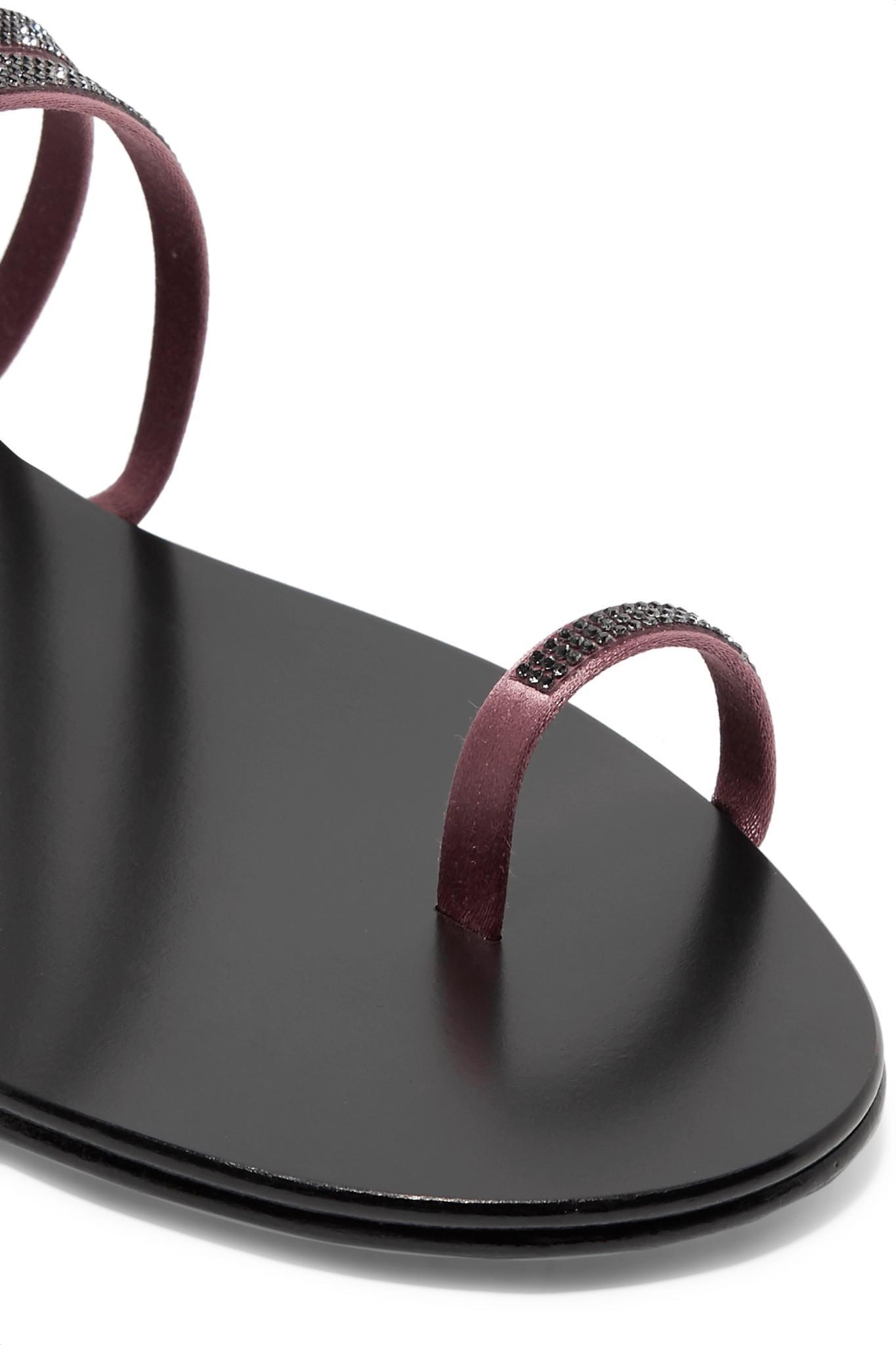 e75caa3085b4 Pedro Garcia - Black Sula Swarovski Crystal-embellished Satin And Leather  Sandals - Lyst. View fullscreen